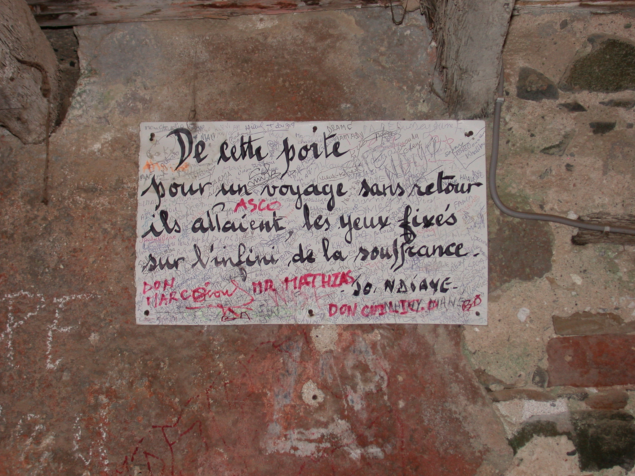 Sign by Door of No Return, Maison des Esclaves, Ile de Goree, Dakar, Senegal