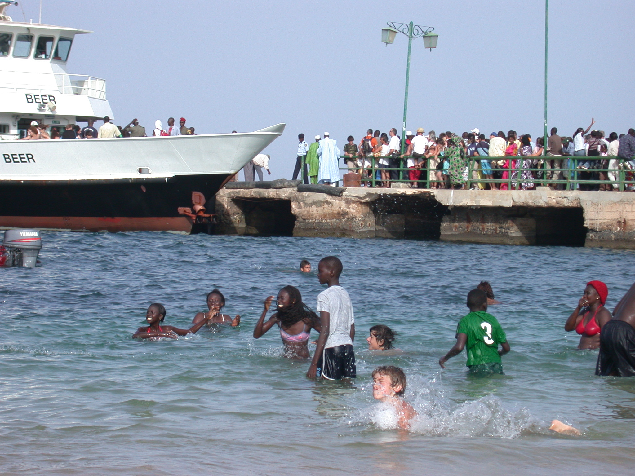 Another Beach View With Ferry, Ile de Goree, Dakar, Senegal