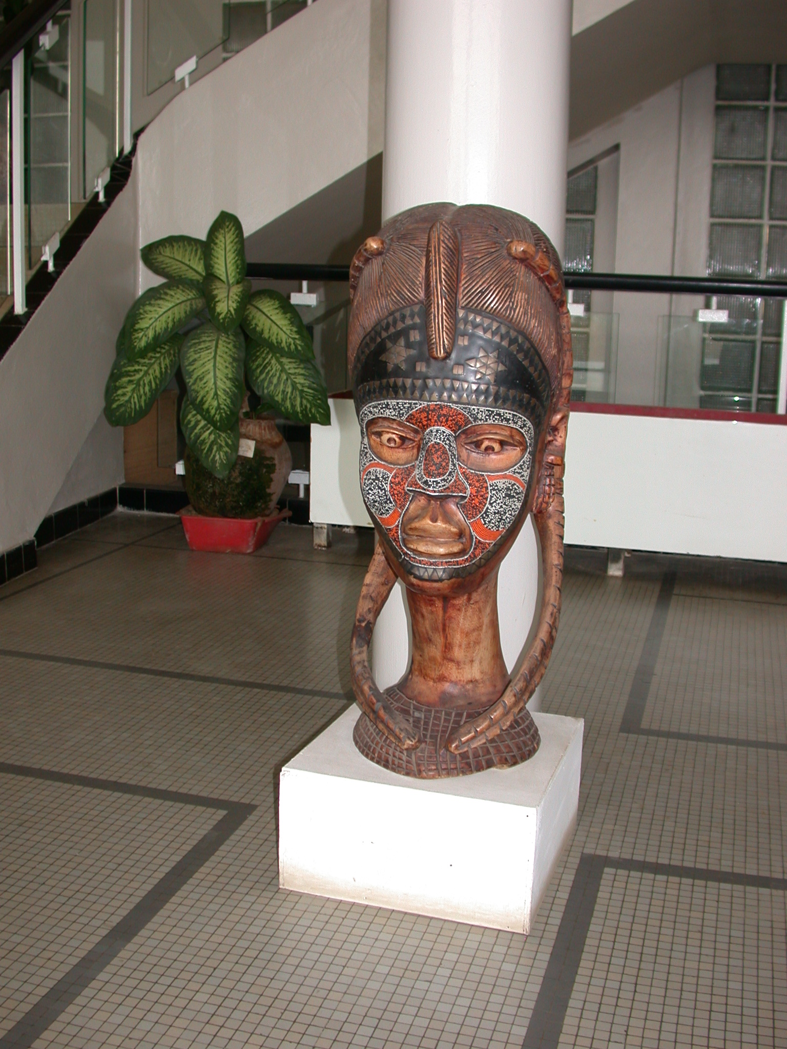 Bust of Woman in Entrance Hall of Institut Fondamental de l Afrique Noire, IFAN, Dakar, Senegal