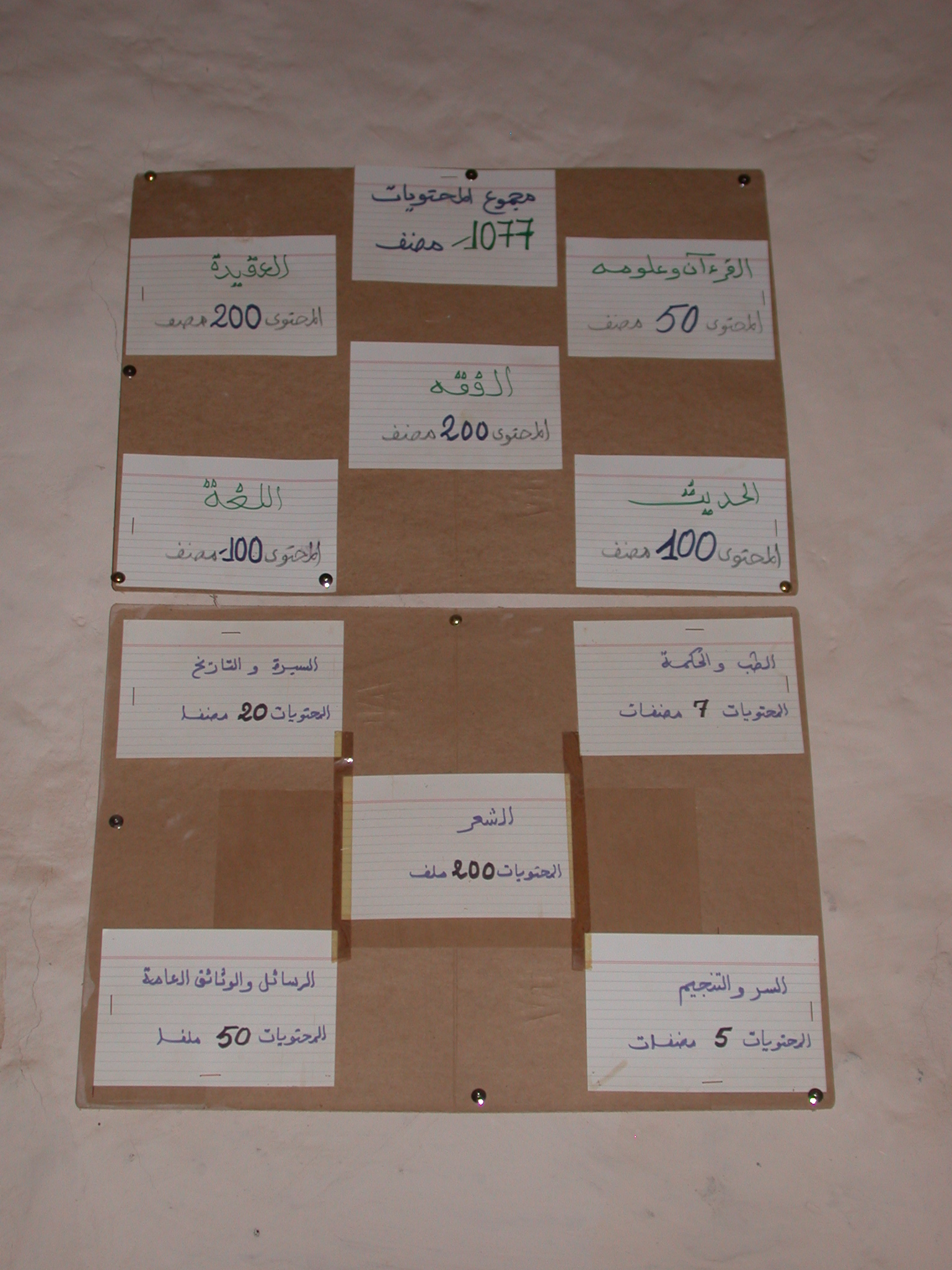 Labels on Book Repository at Library in Ancient City of Oulata, Mauritania