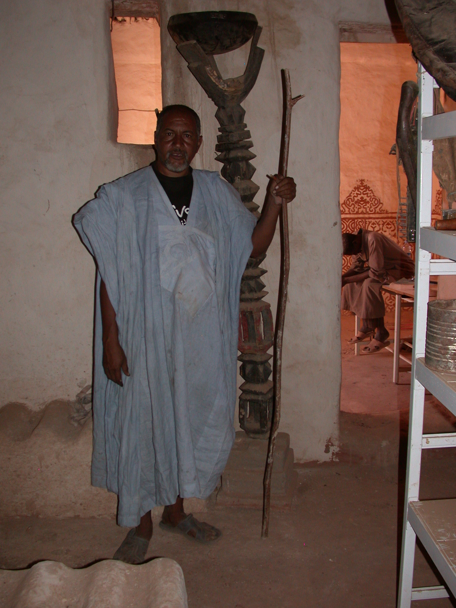 Mr. Moulay Showing How Staff Used as Authority Symbol, Museum at Ancient City of Oualata, Mauritania