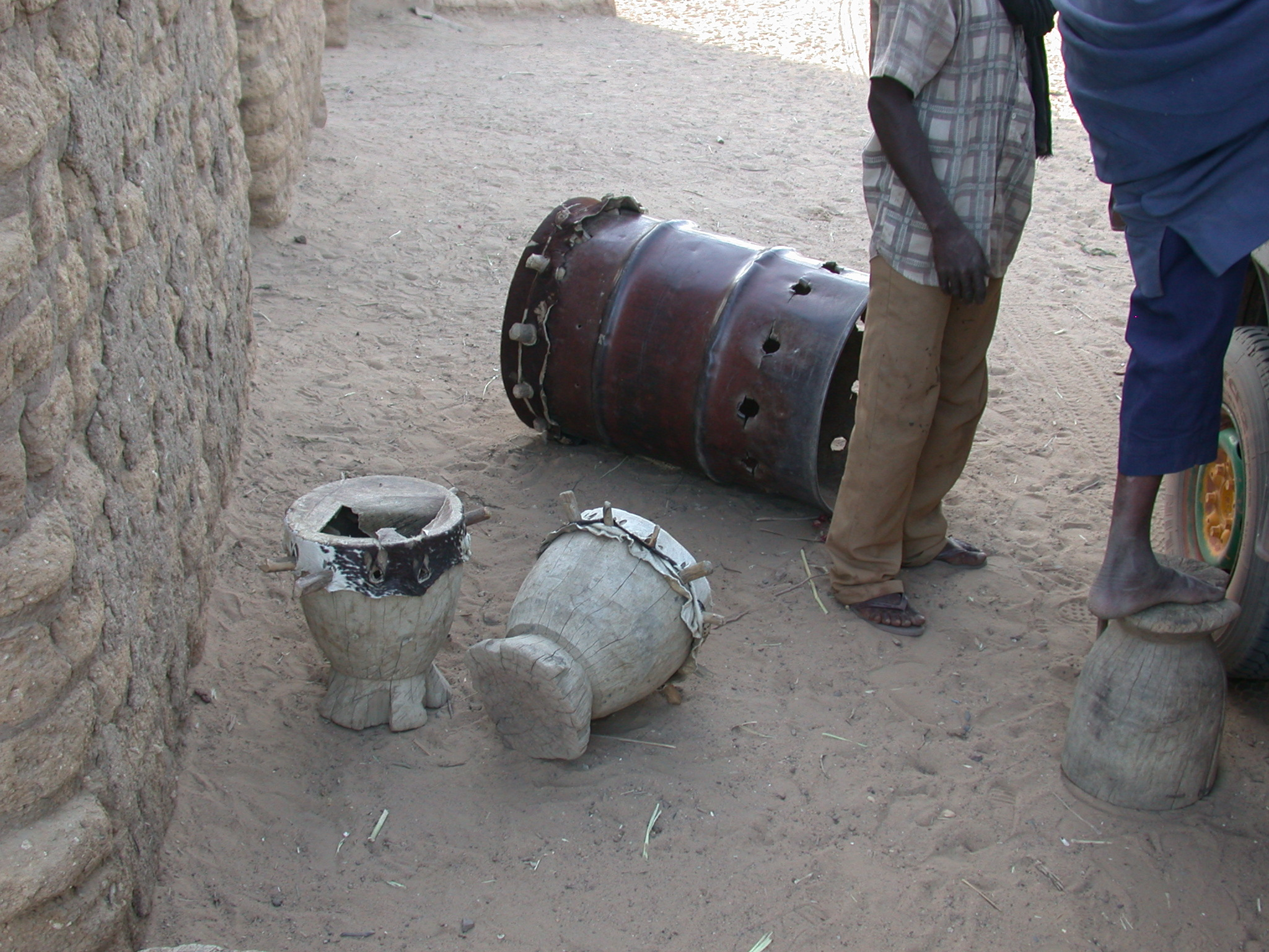 Drums in Town Between Nara and Sokolo, Mali