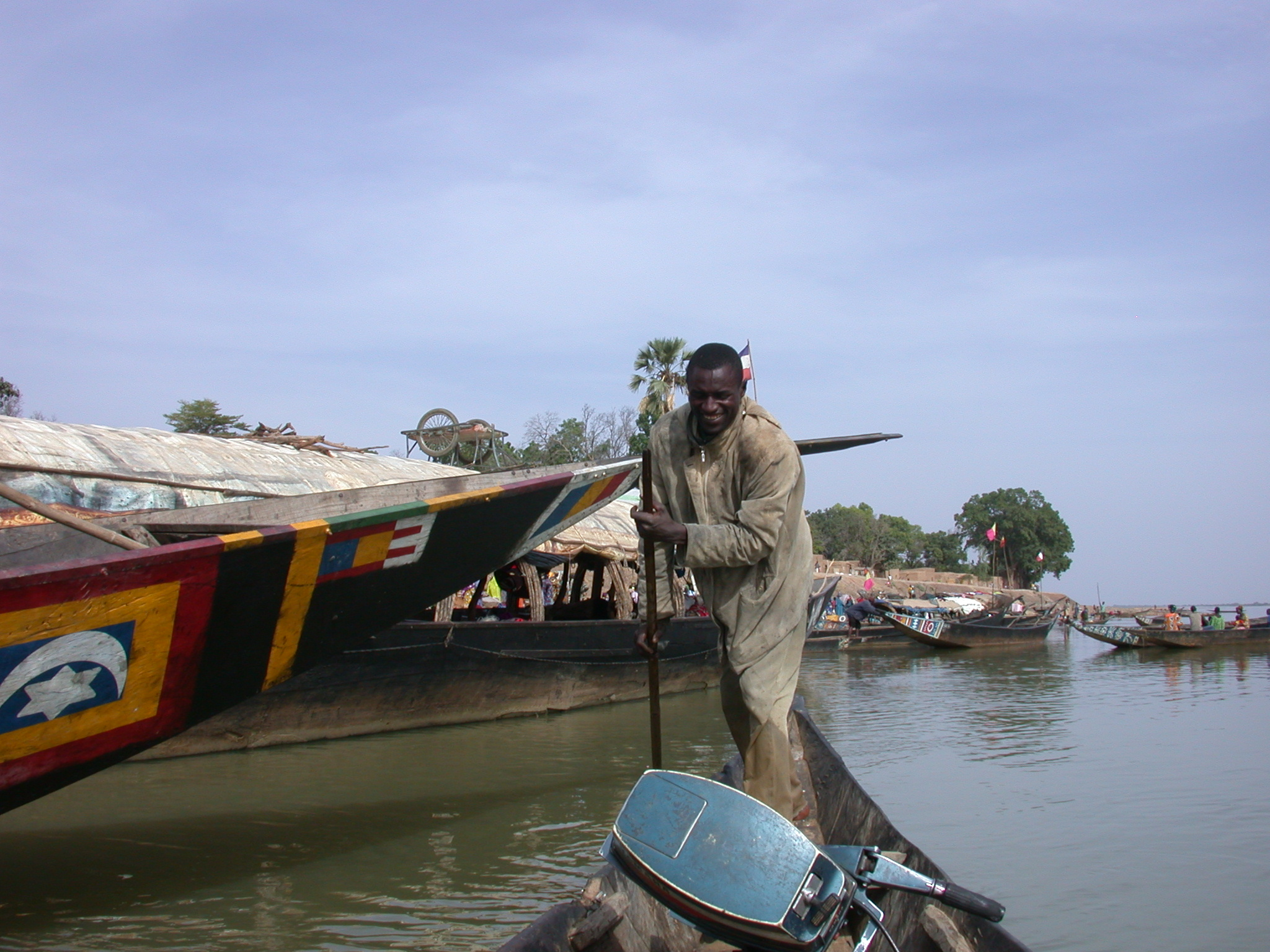 Pinasse Boat and Gondolier at Massina, Mali