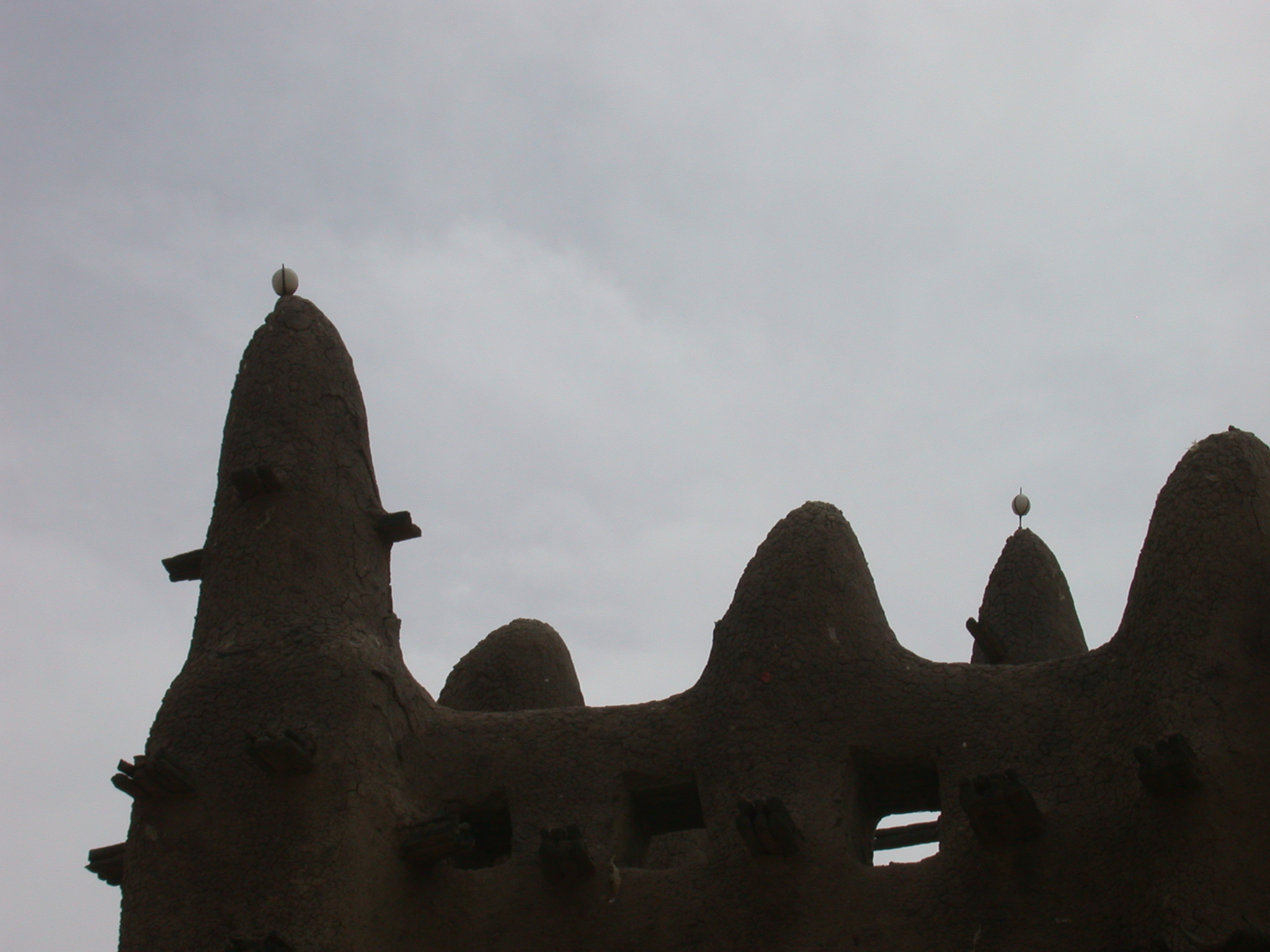 Ostrich Eggs on Minarets of Mosque in Jenne, Mali
