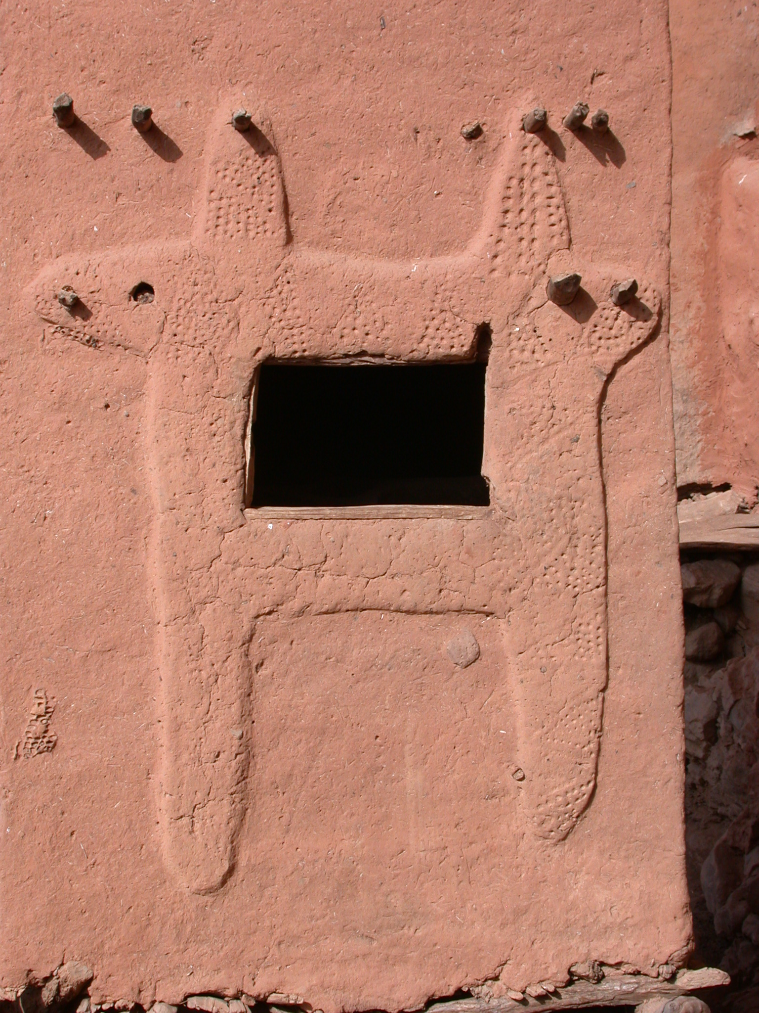 Lovely Design Around Window of Tellem Village Building, Dogon Country, Mali