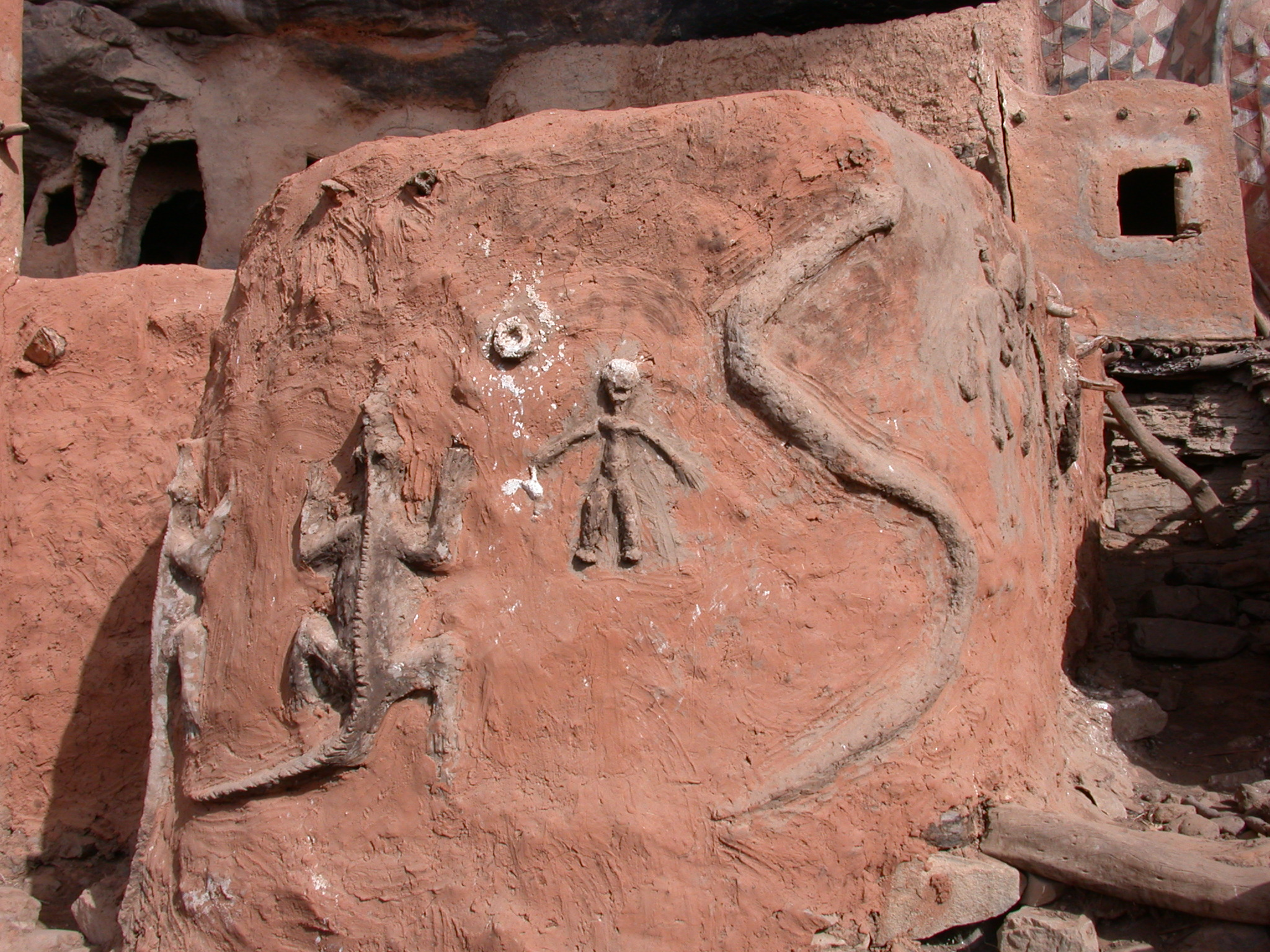 Ritual Crocodile, Human, and Serpent Symbols in Falaise Escarpment, Tellem Village, Dogon Country, Mali