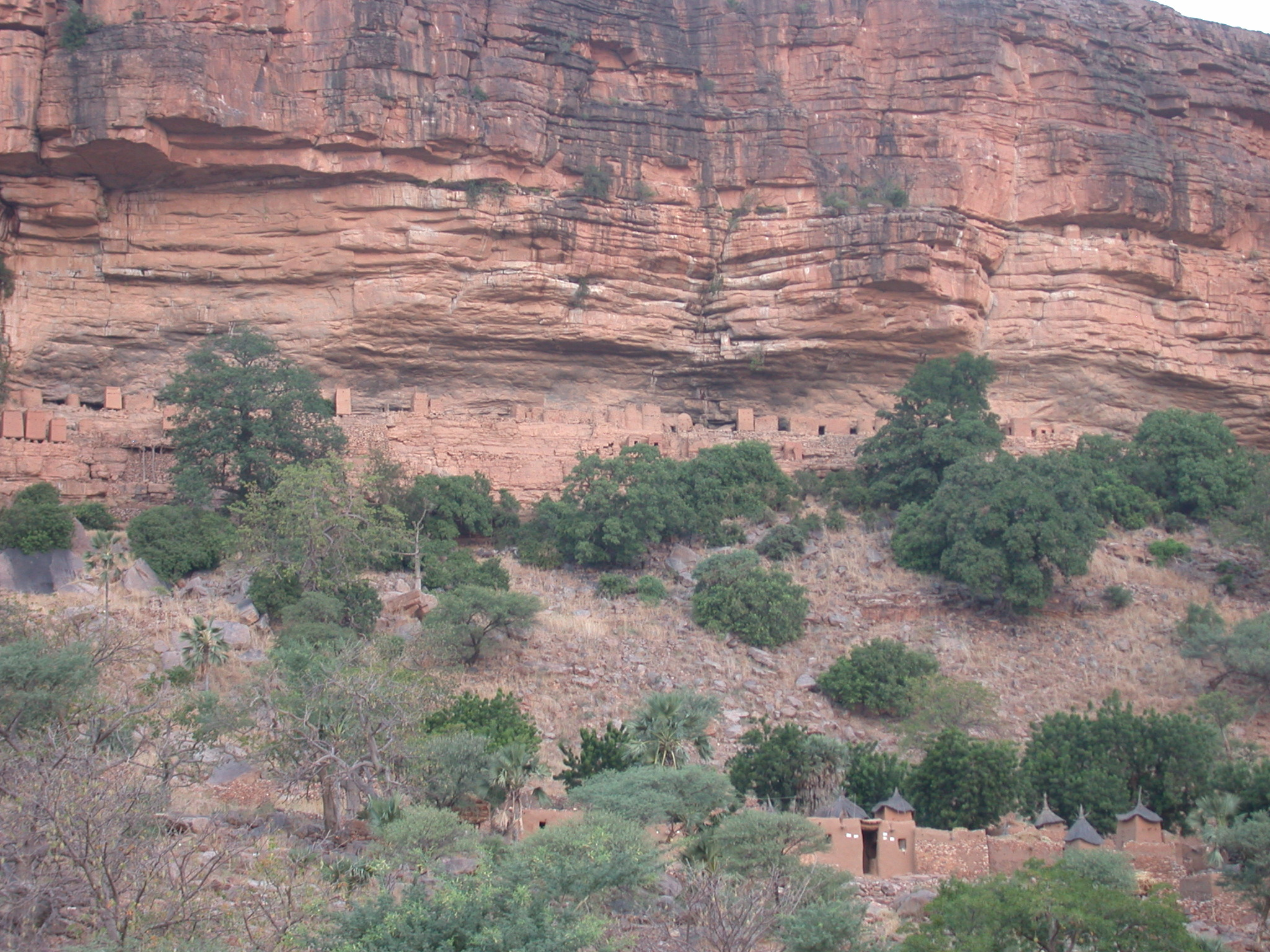 Failaise Escarpment Village Visible on Path From Ennde Village to Begnemoto Village, Dogon Country, Mali