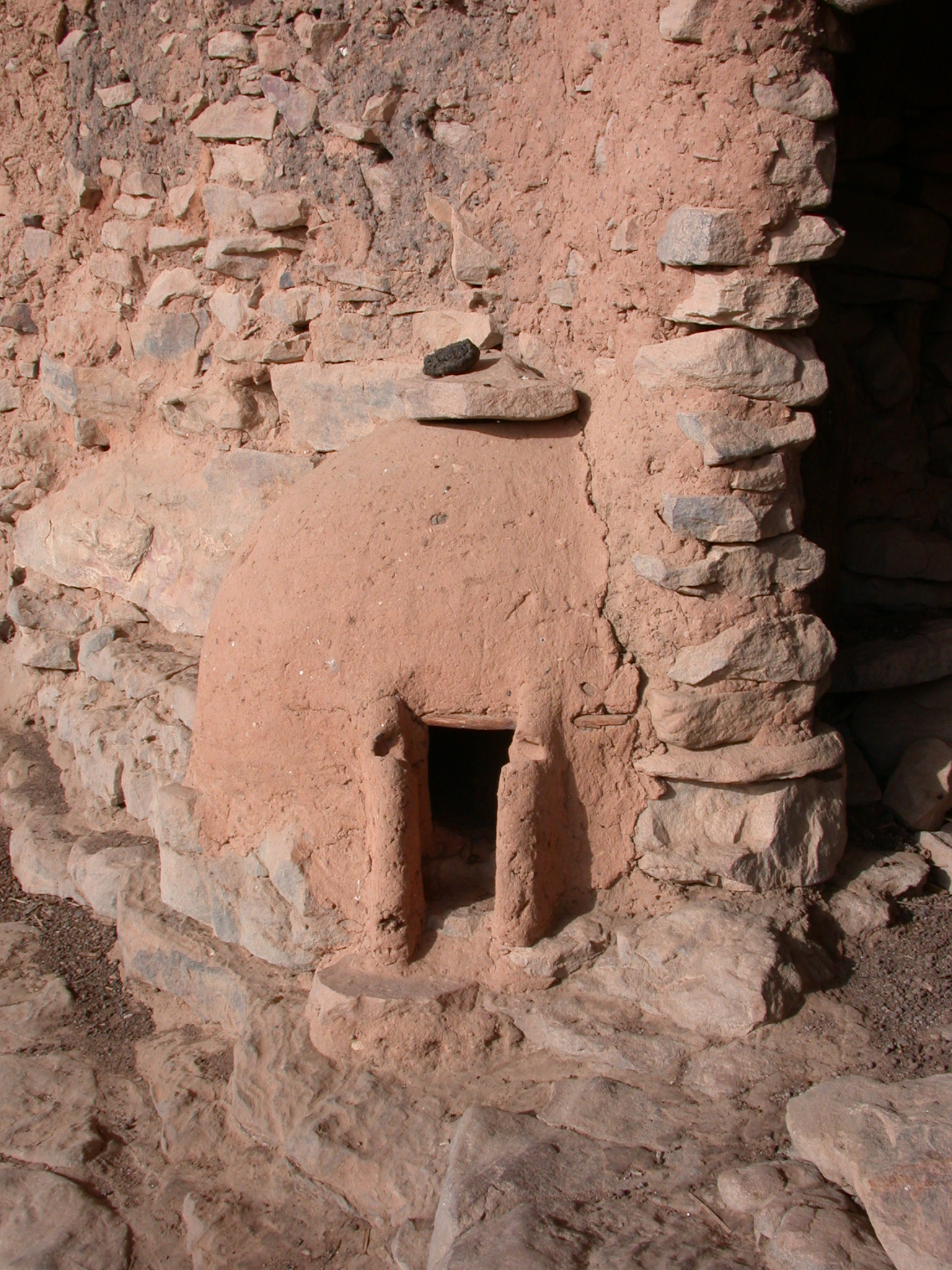 Ancient Hut on Falaise Escarpment, Old Ennde Village, Dogon Country, Mali