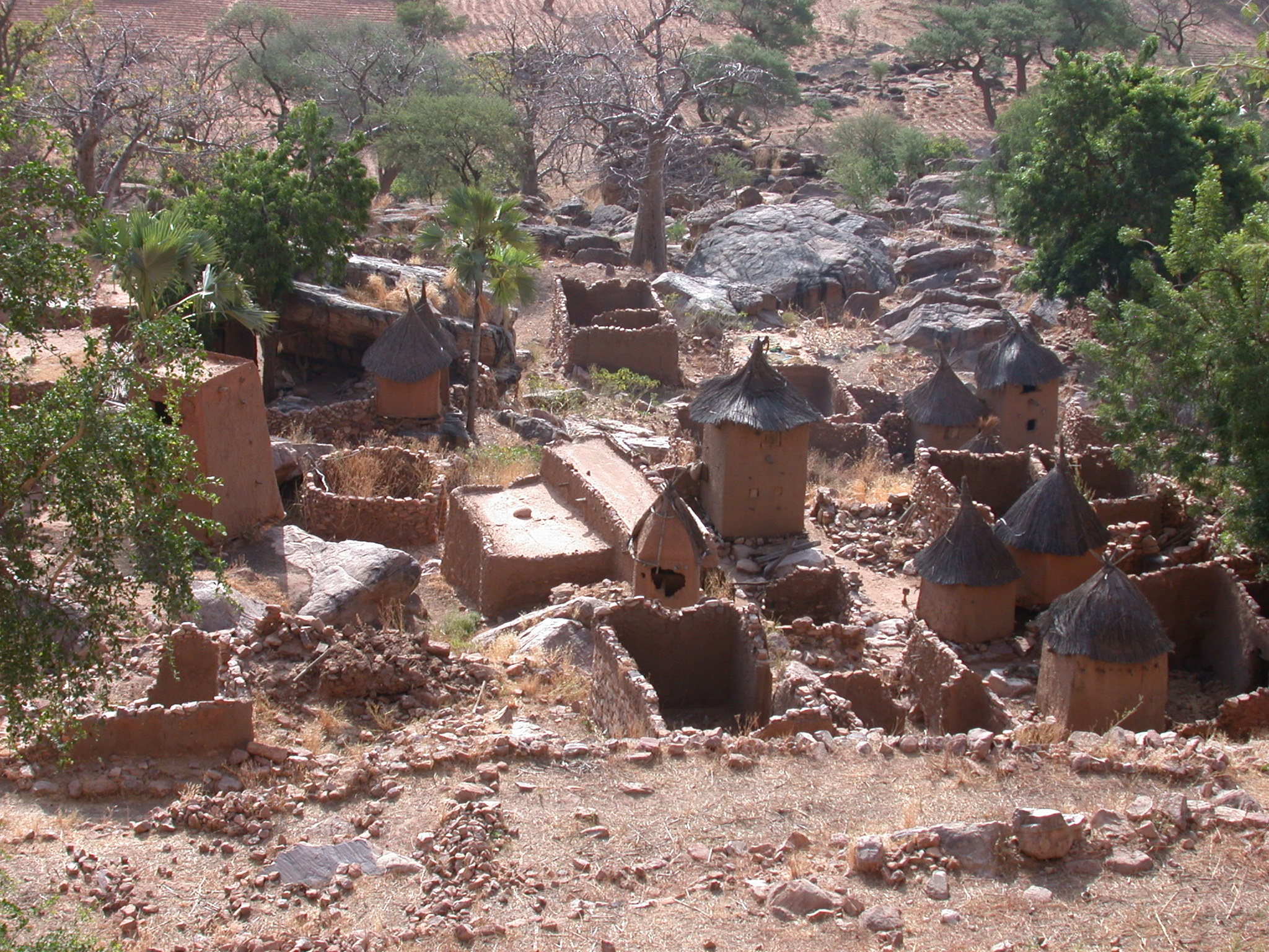 Falaise Escarpment View of Ennde Village, Dogon Country, Mali
