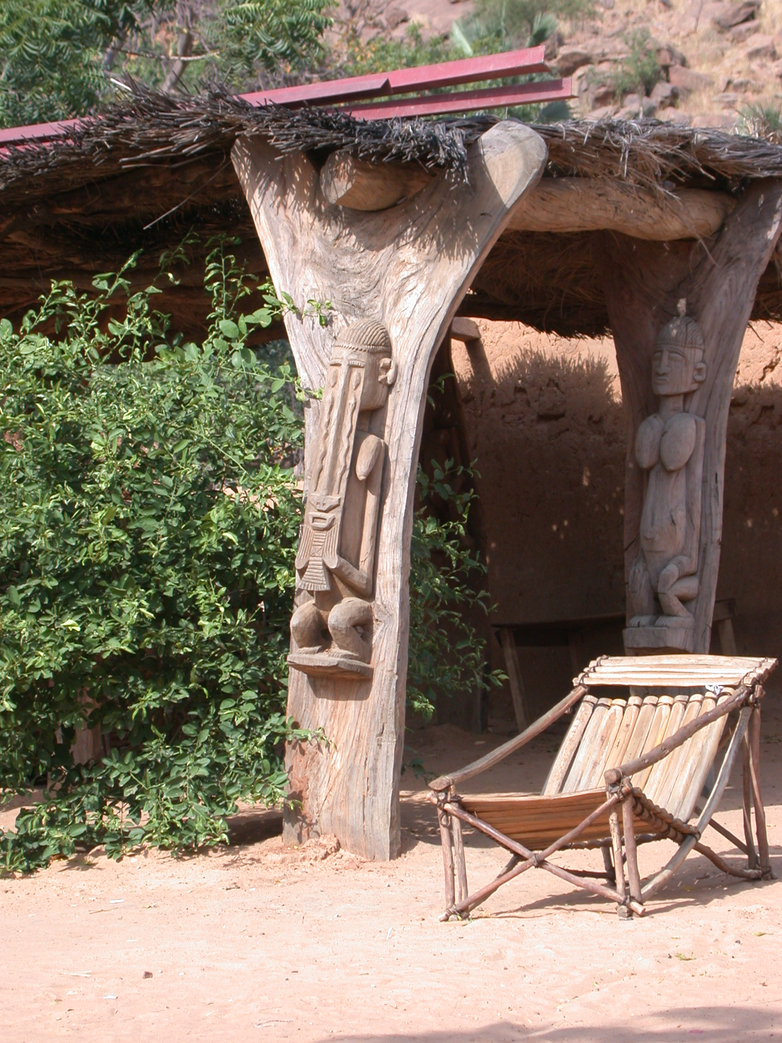 Carving of Dogon Deity, Hotel Courtyard in Village, Dogon Country, Mali