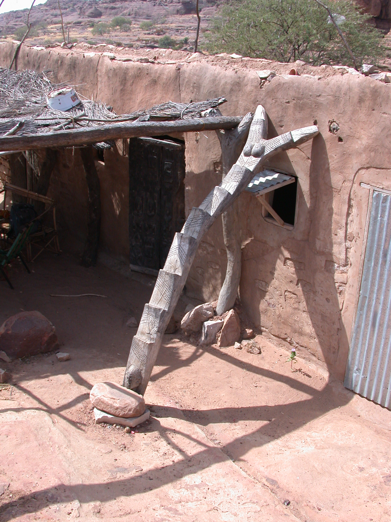 Carved Wooden Female Ladder at Hotel, Begnetmoto Village, Dogon Country, Mali