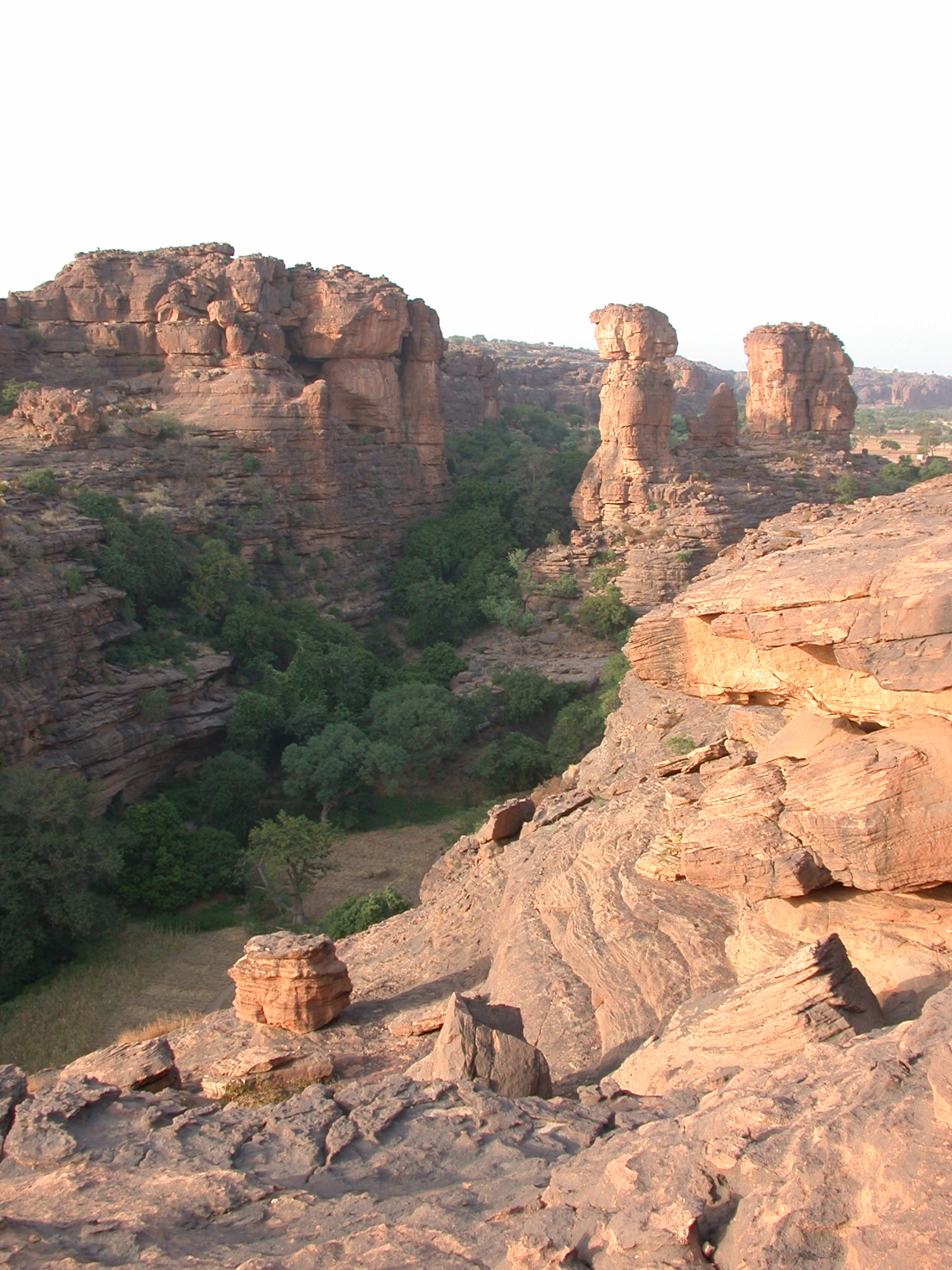 View of Canyon Trail From Summit of Falaise Escarpment Near Begnetmoto Village, Dogon Country, Mali