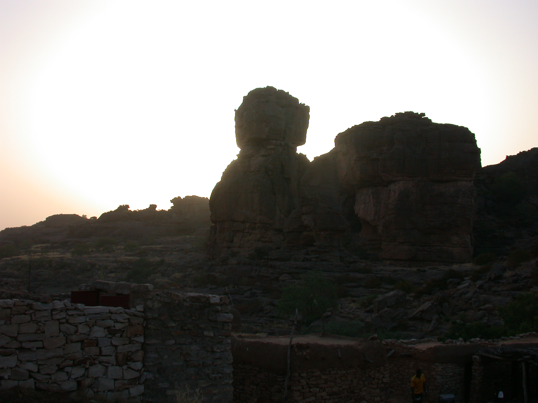 Sunset View From Summit of Falaise Escarpment Near Begnetmoto Village, Dogon Country, Mali
