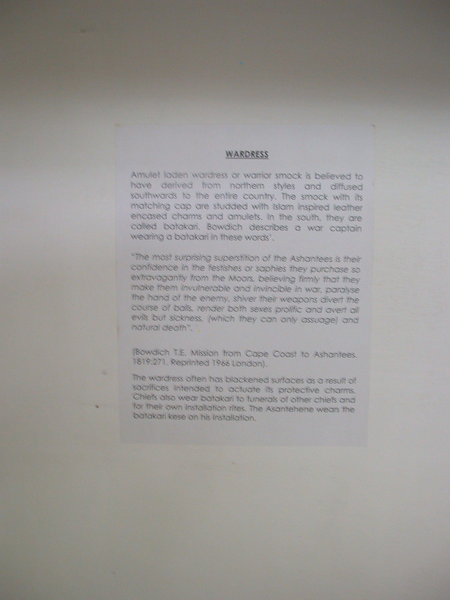 Wardress Description, National Museum, Accra, Ghana