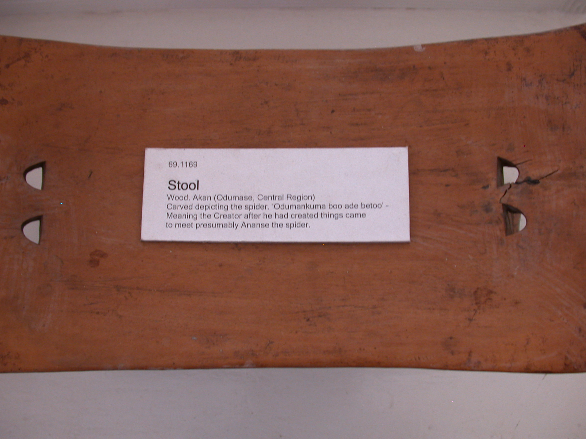 Akan Spider Stool Label, National Museum, Accra, Ghana