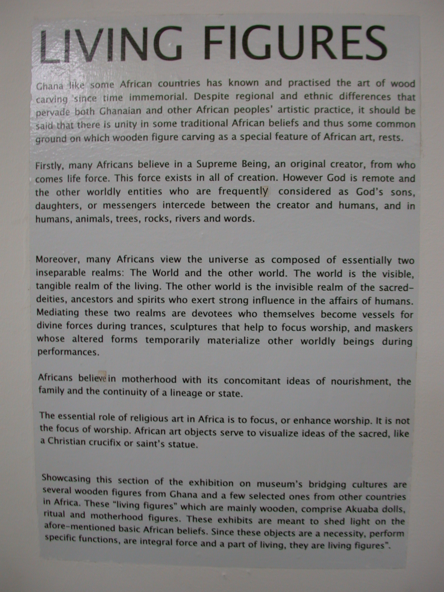 Living Figures Wooden Art Description, National Museum, Accra, Ghana