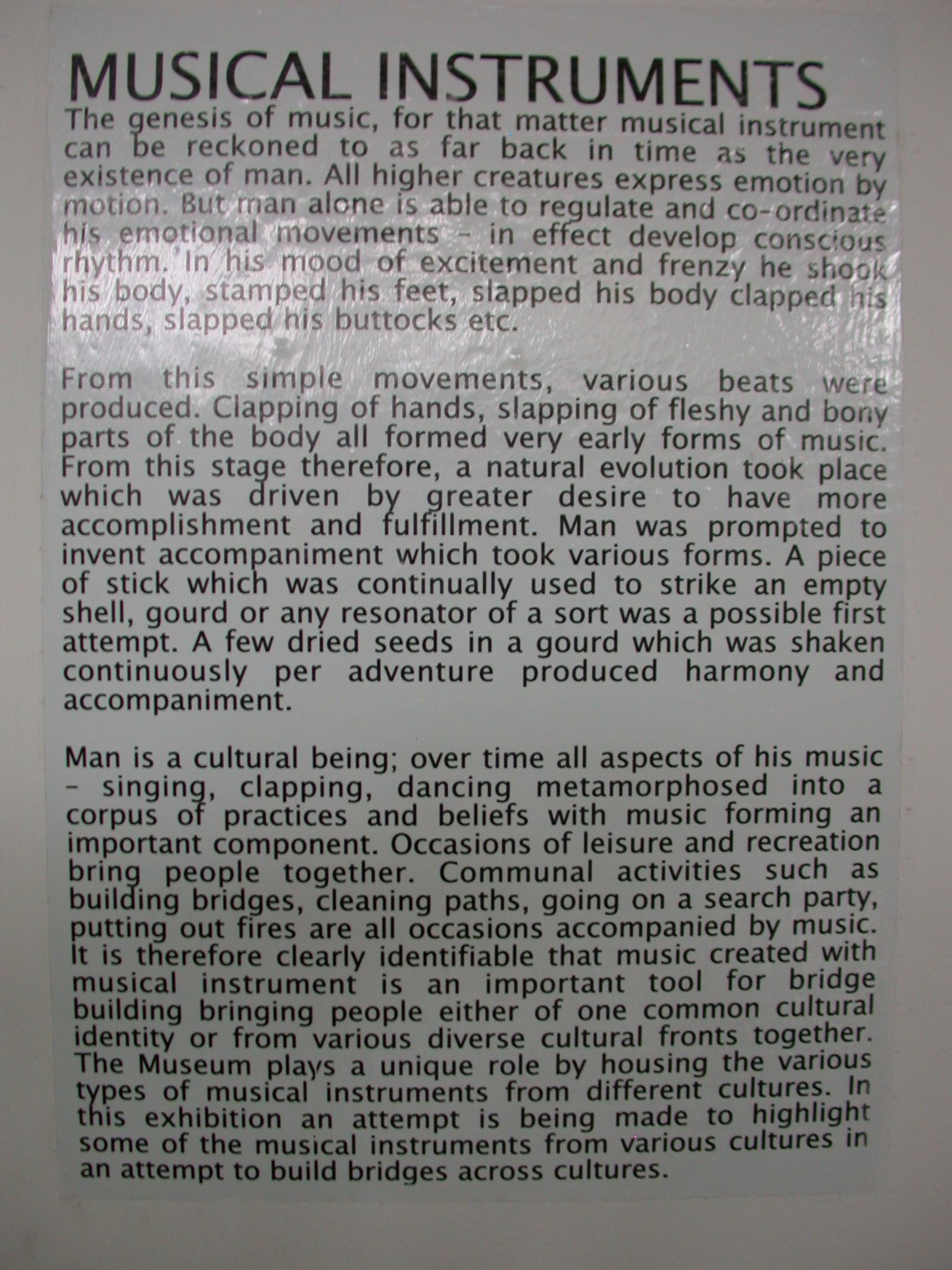 Musical Instruments Description, National Museum, Accra, Ghana