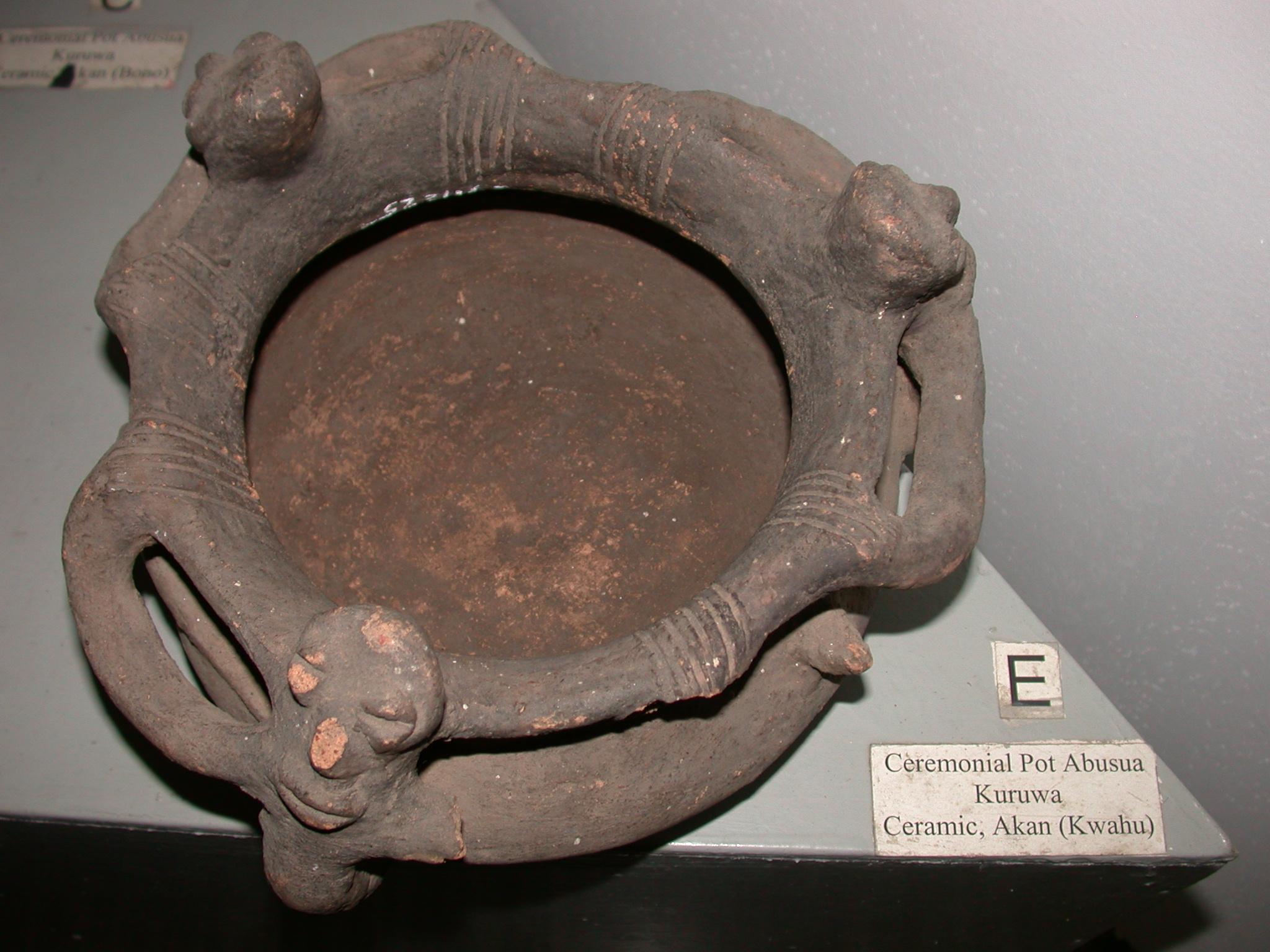 Akan Ceramic Ceremonial Pot Abusua, Kuruwa, Kwahu, National Museum, Accra, Ghana