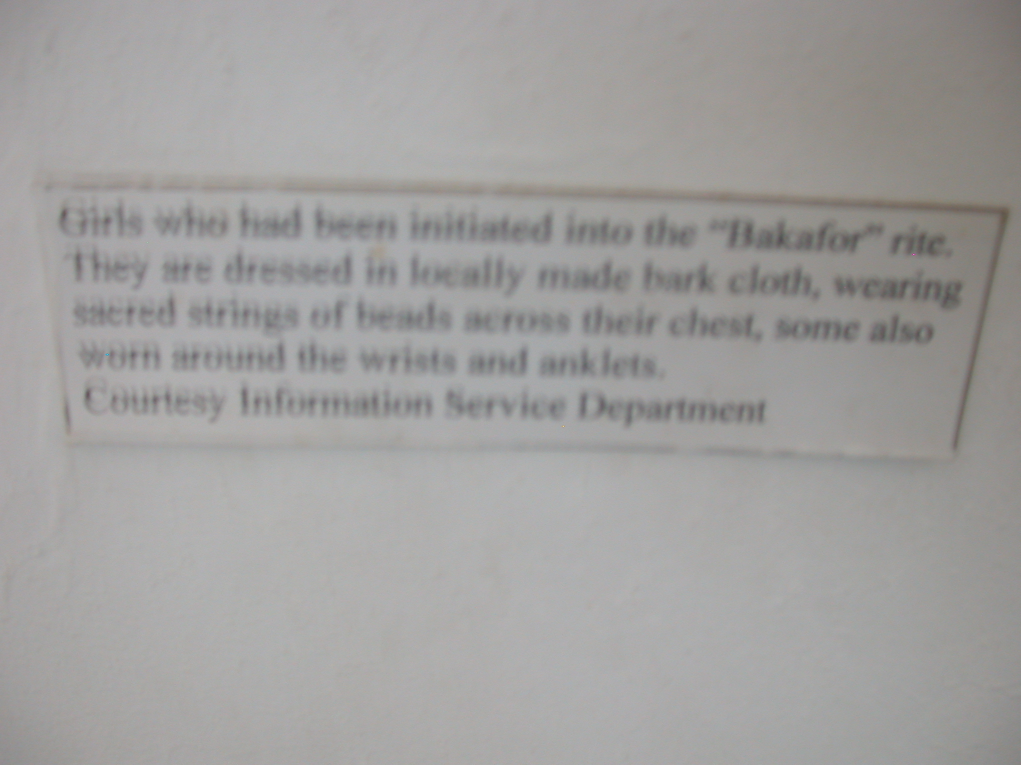 Label for Picture of Girls Initiated Into Bakafor Rite, National Museum, Accra, Ghana
