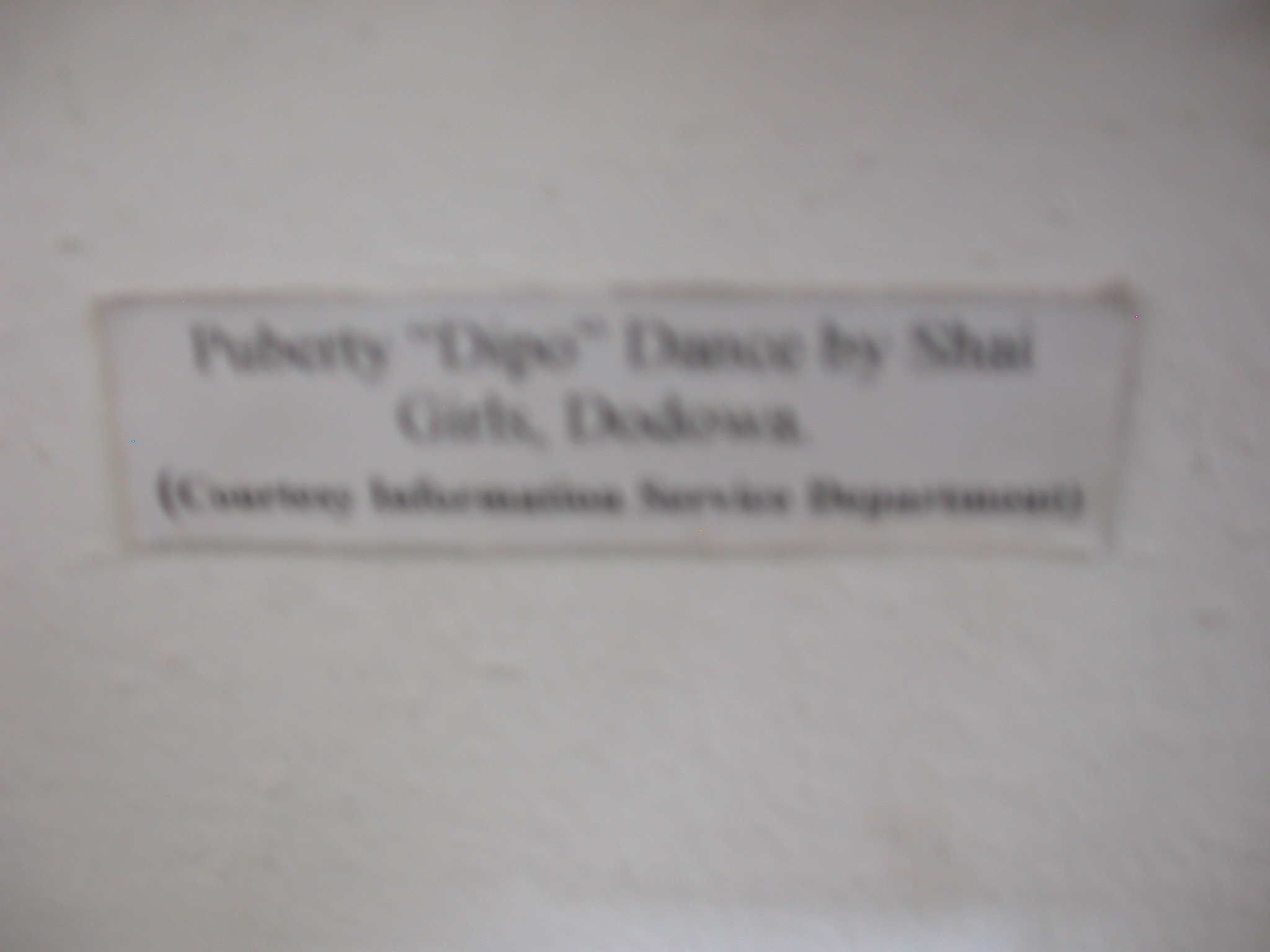 Label for Picture of Puberty Dance by Shai Girls, National Musem, Accra, Ghana