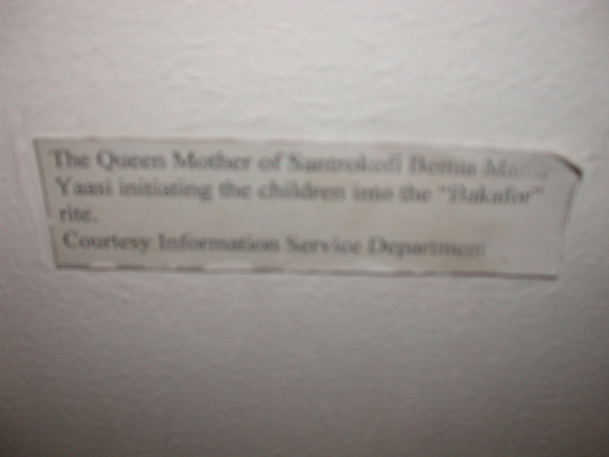 Label for Picture of Queen Mother Initiating Children Into Bakafor Rite, National Museum, Accra, Ghana