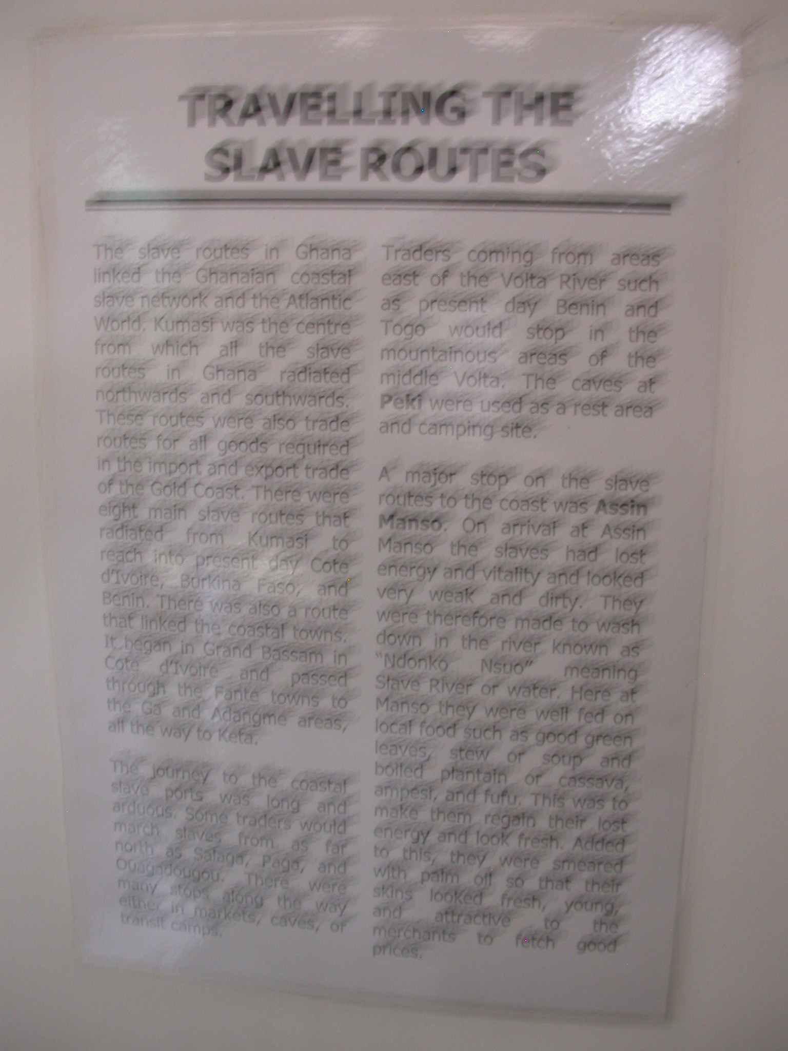 Blurry Description of Traveling the Slave Routes, National Museum, Accra, Ghana
