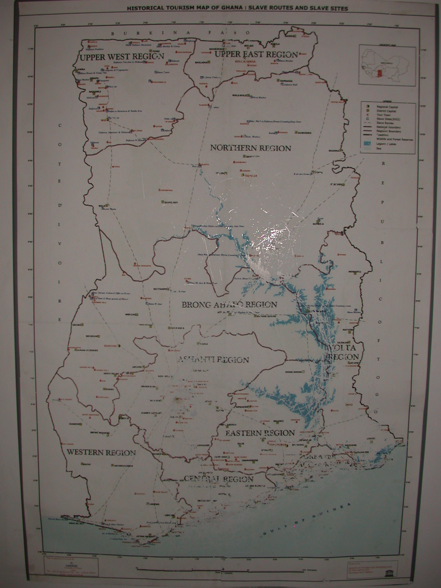 Map of Slave Routes and Slave Sites, National Museum, Accra, Ghana