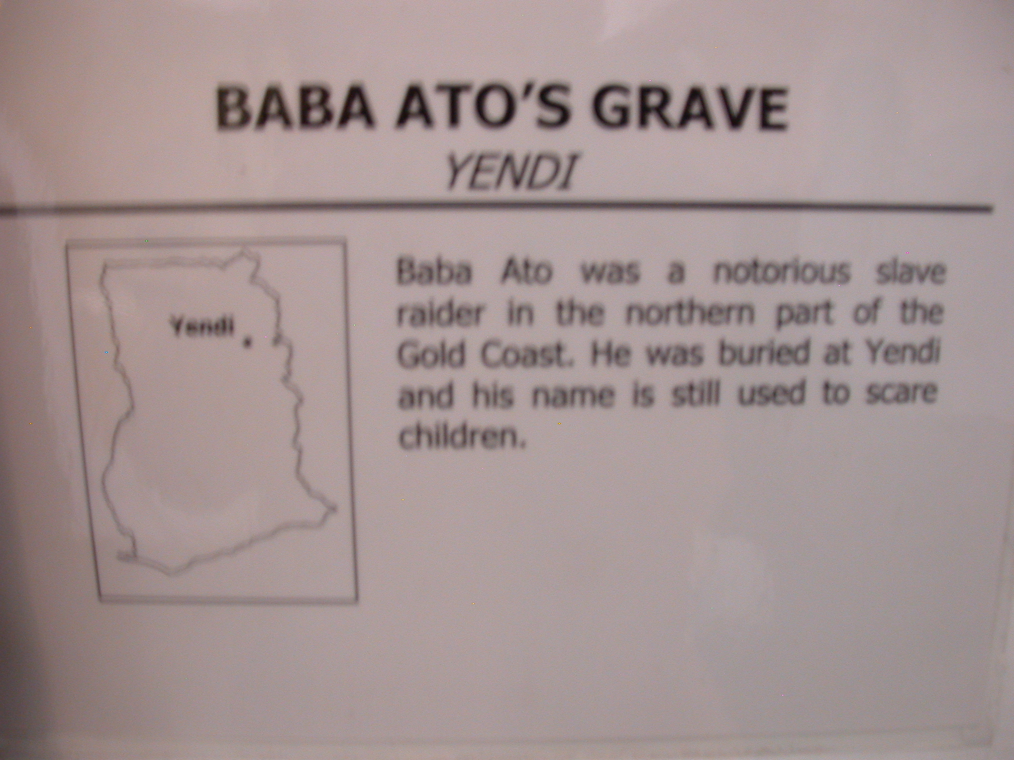 Label for Picture of Grave of Notorious Slave Raider Babo Ato, National Museum, Accra, Ghana