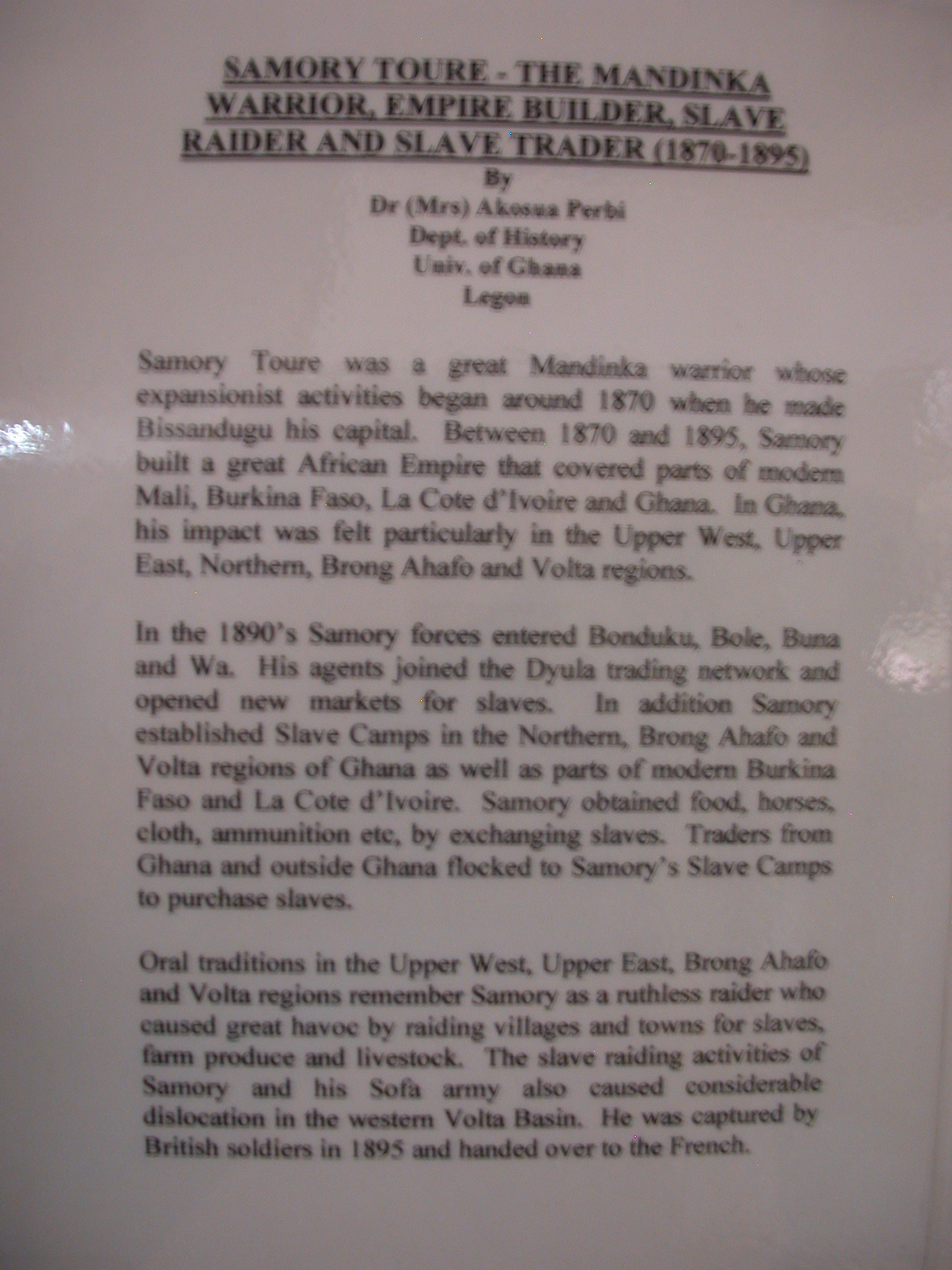 Label for Picture of Slave Raider Samory Toure, National Museum, Accra, Ghana