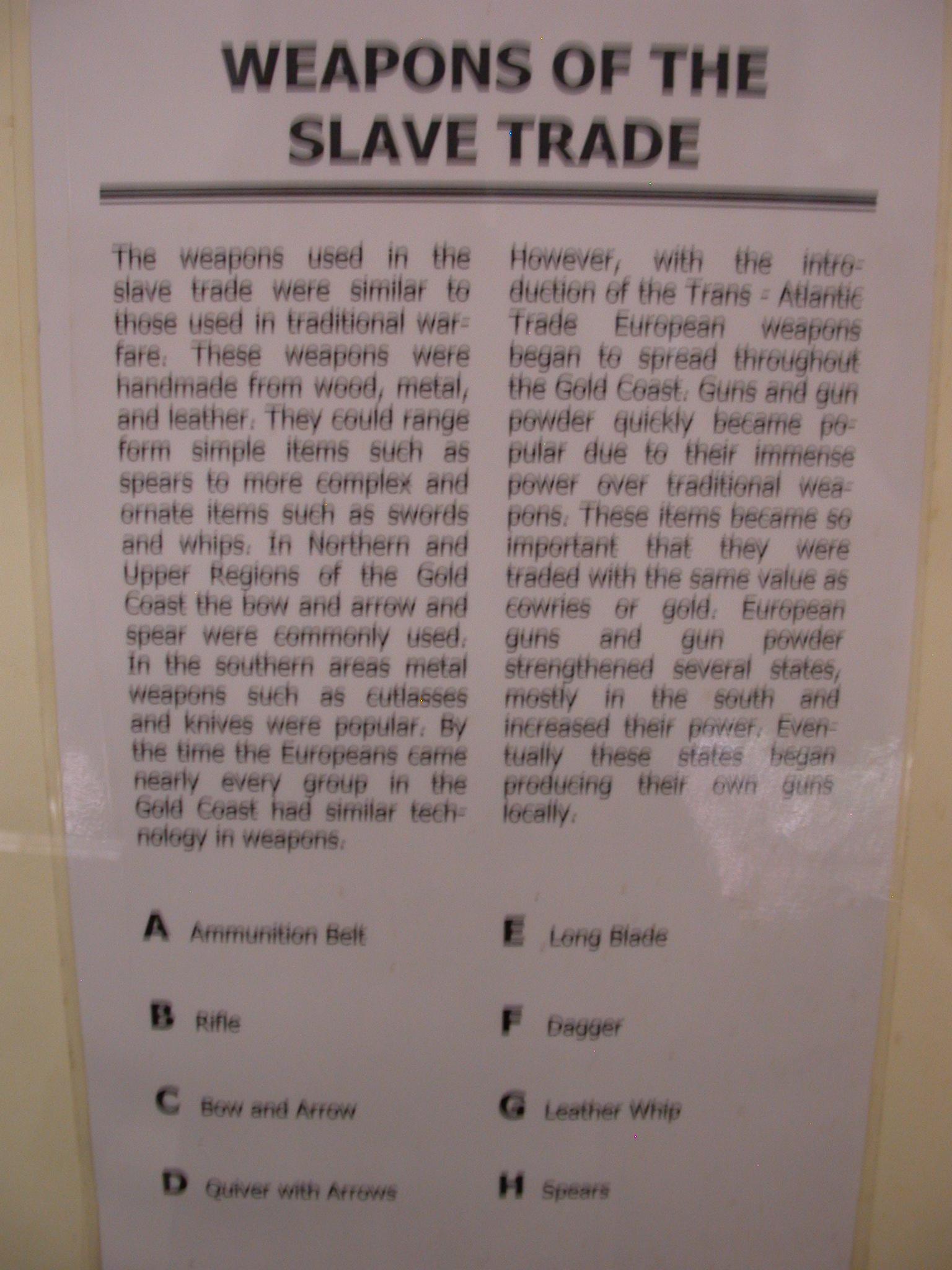 Slave Trade Weapons Description, National Museum, Accra, Ghana