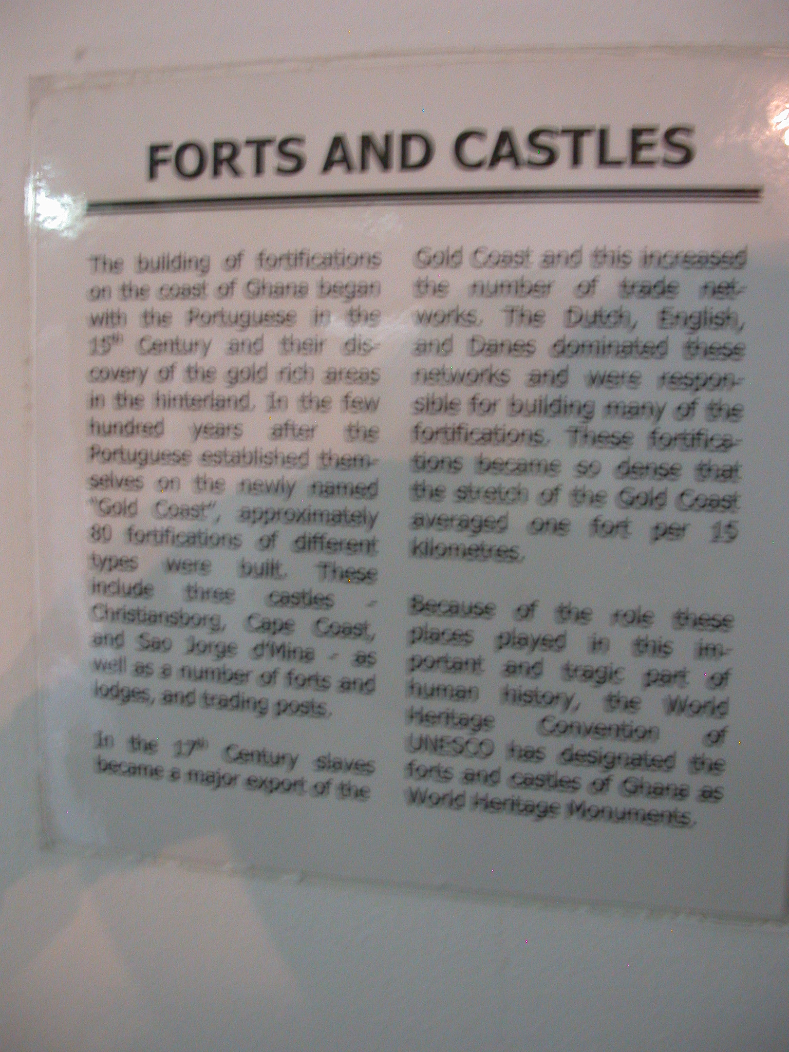 Forts and Castles Description, National Museum, Accra, Ghana