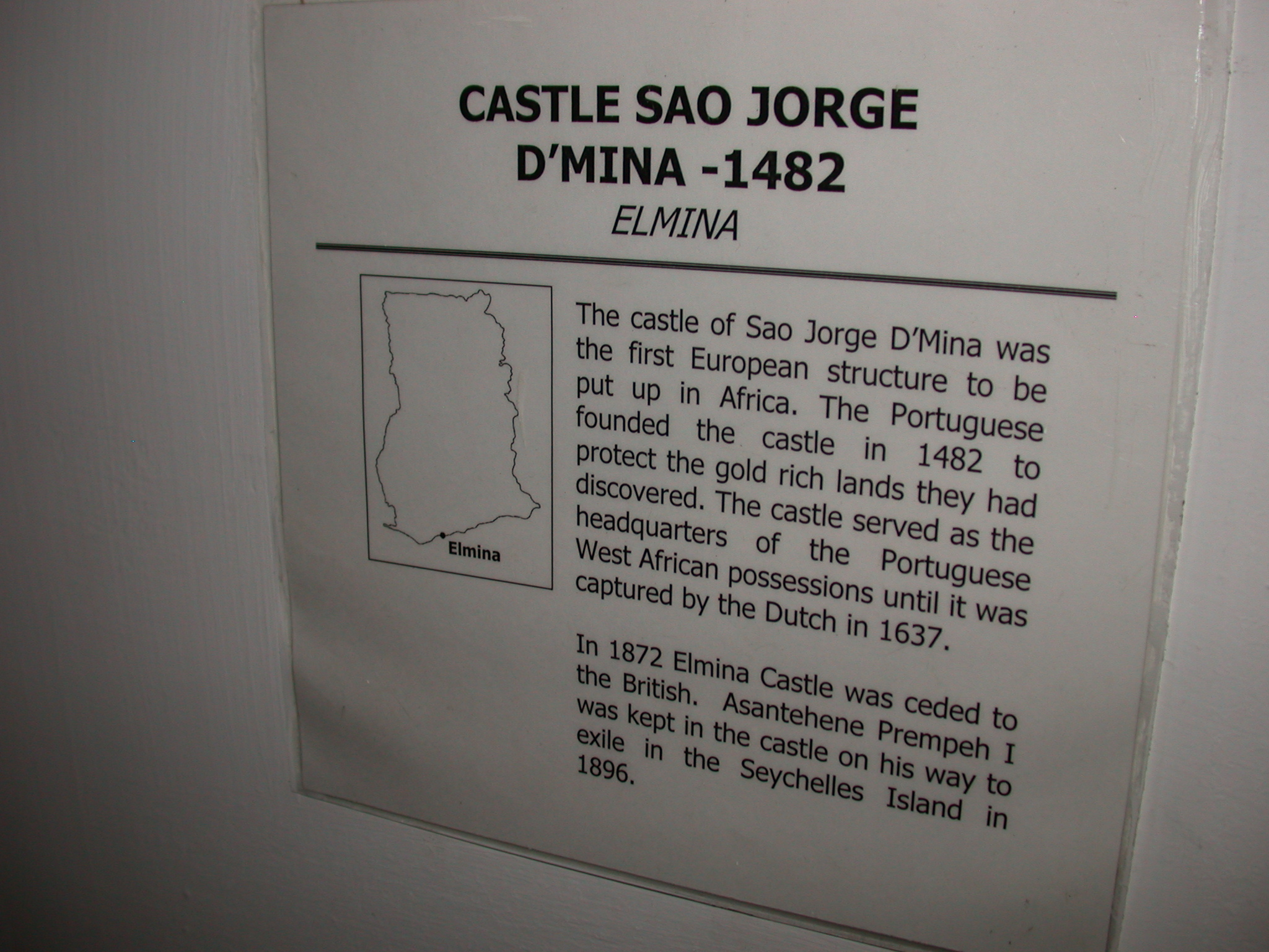 Elmina Castle Description, National Museum, Accra, Ghana