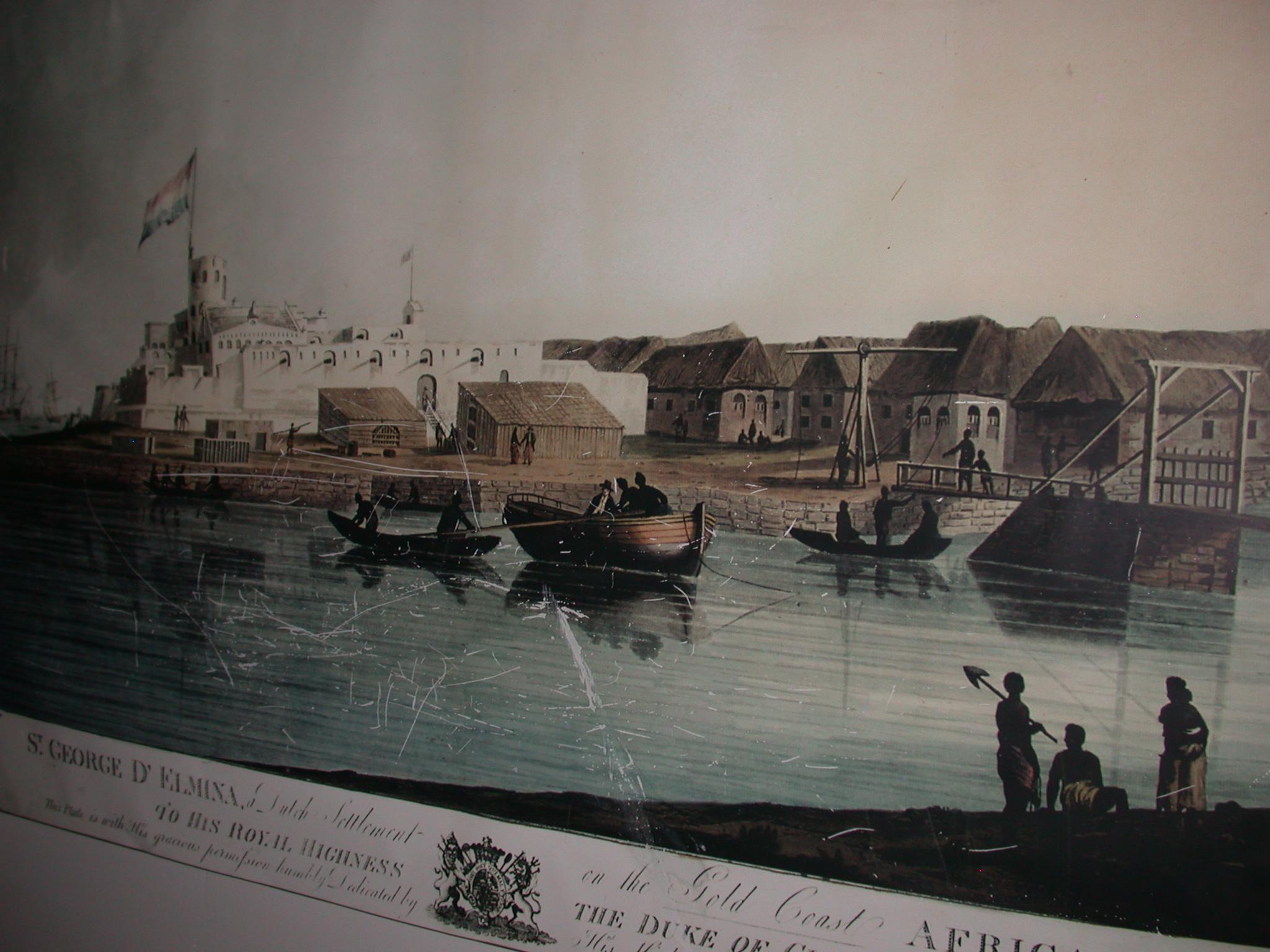 Engraving of Elmina Castle, National Museum, Accra, Ghana