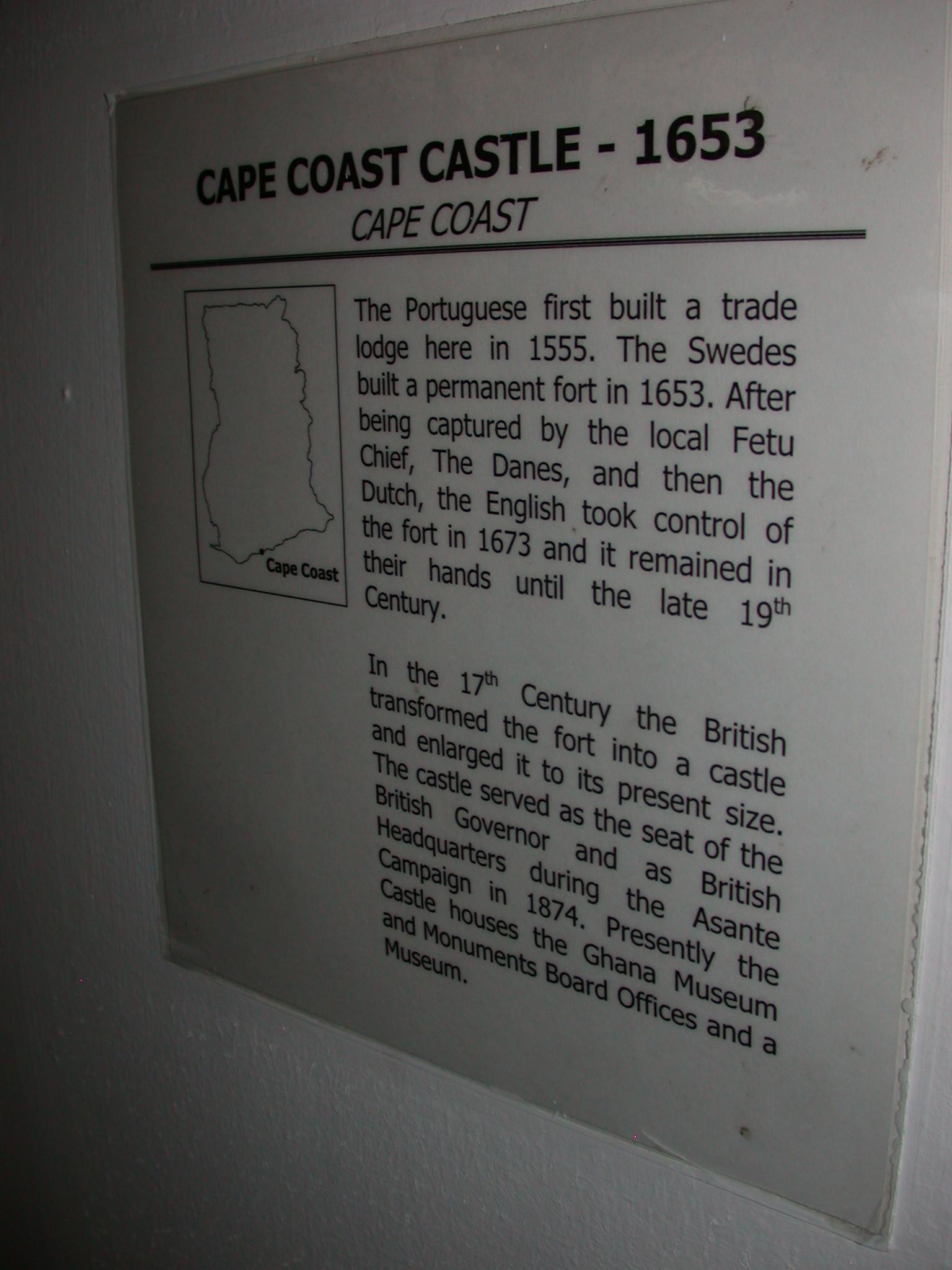 Cape Coast Castle Description, National Museum, Accra, Ghana