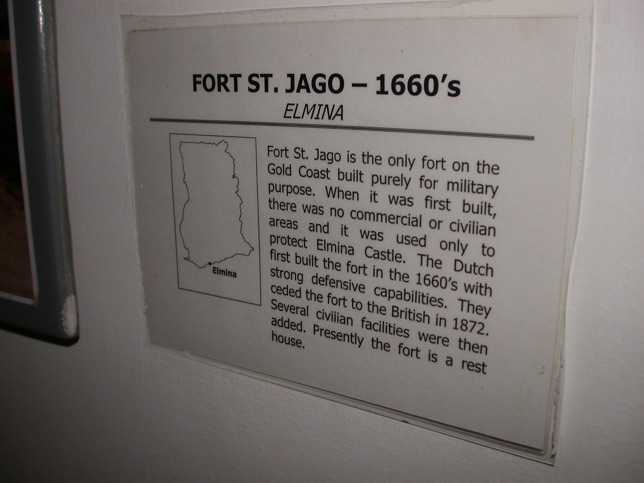Description of Fort St. Jago in Elmina, National Museum, Accra, Ghana