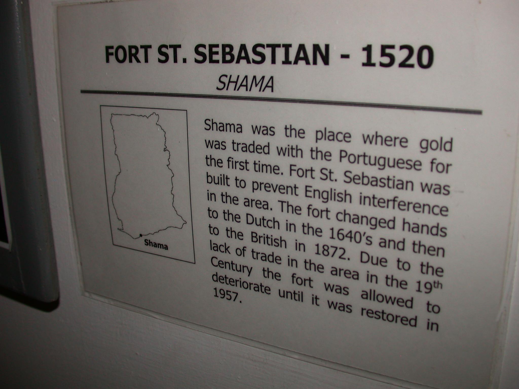 Description of Fort St. Sebastian in Shama, National Museum, Accra, Ghana