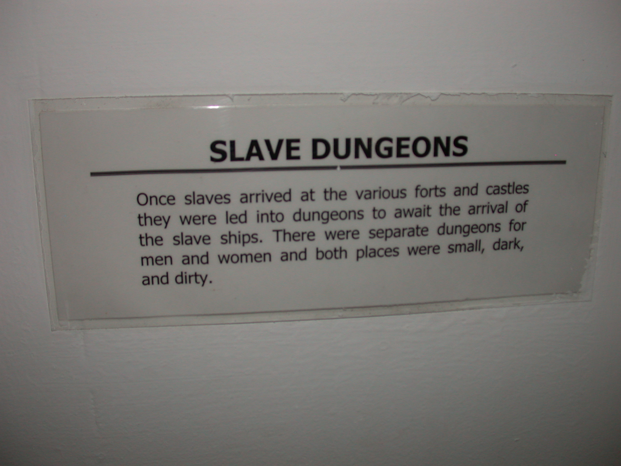 Label for Picture of Slave Dungeon, National Museum, Accra, Ghana