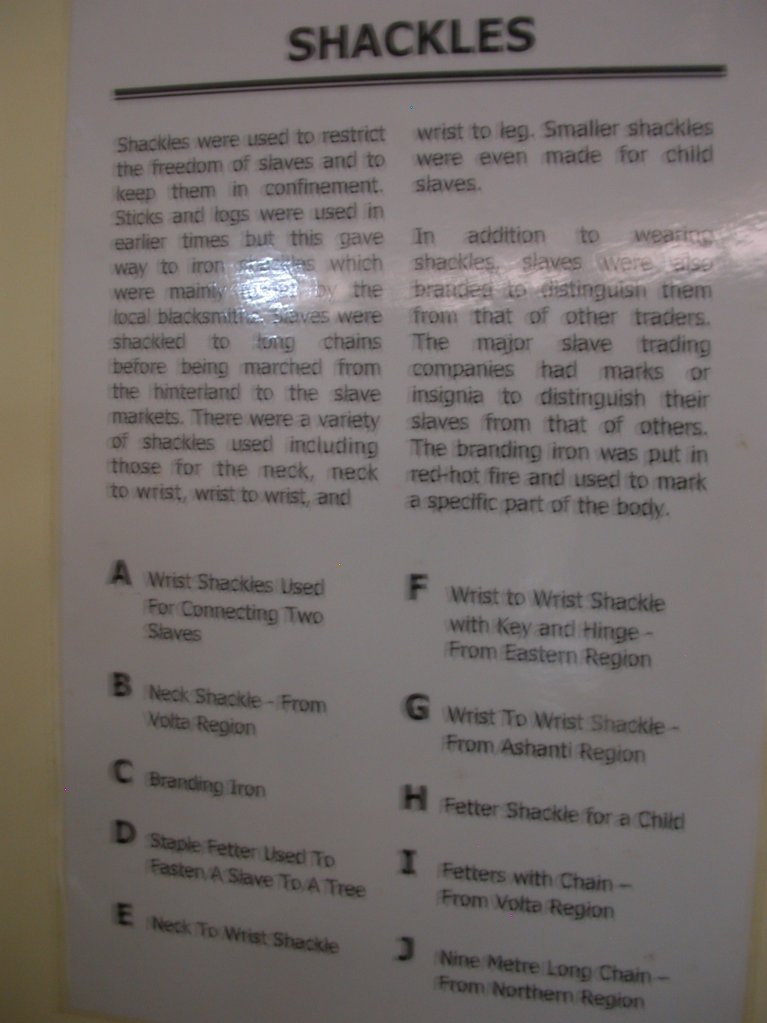 Description of Types of Slave Shackles, National Museum, Accra, Ghana