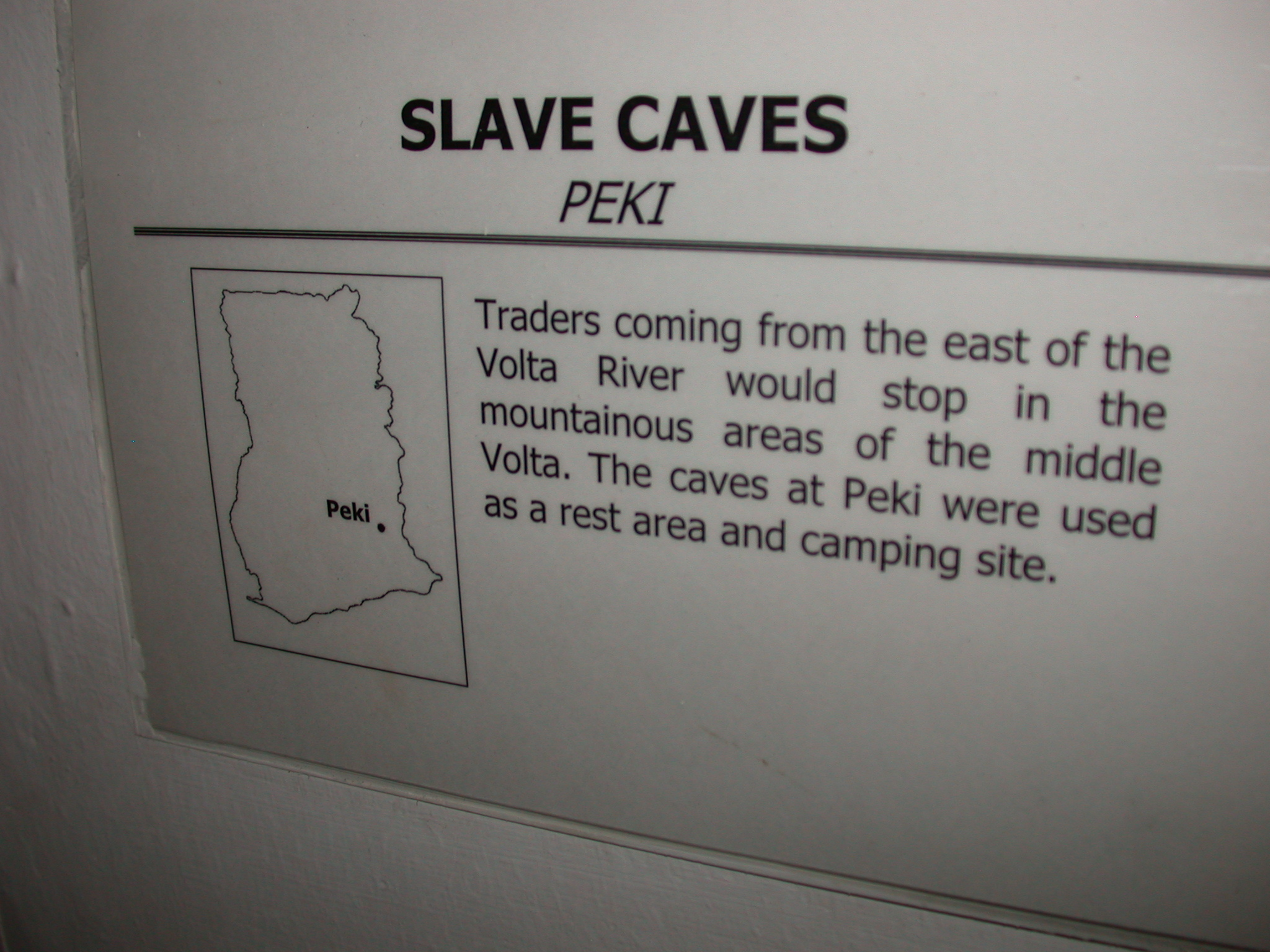 Label for Picture of Slave Cave, National Museum, Accra, Ghana