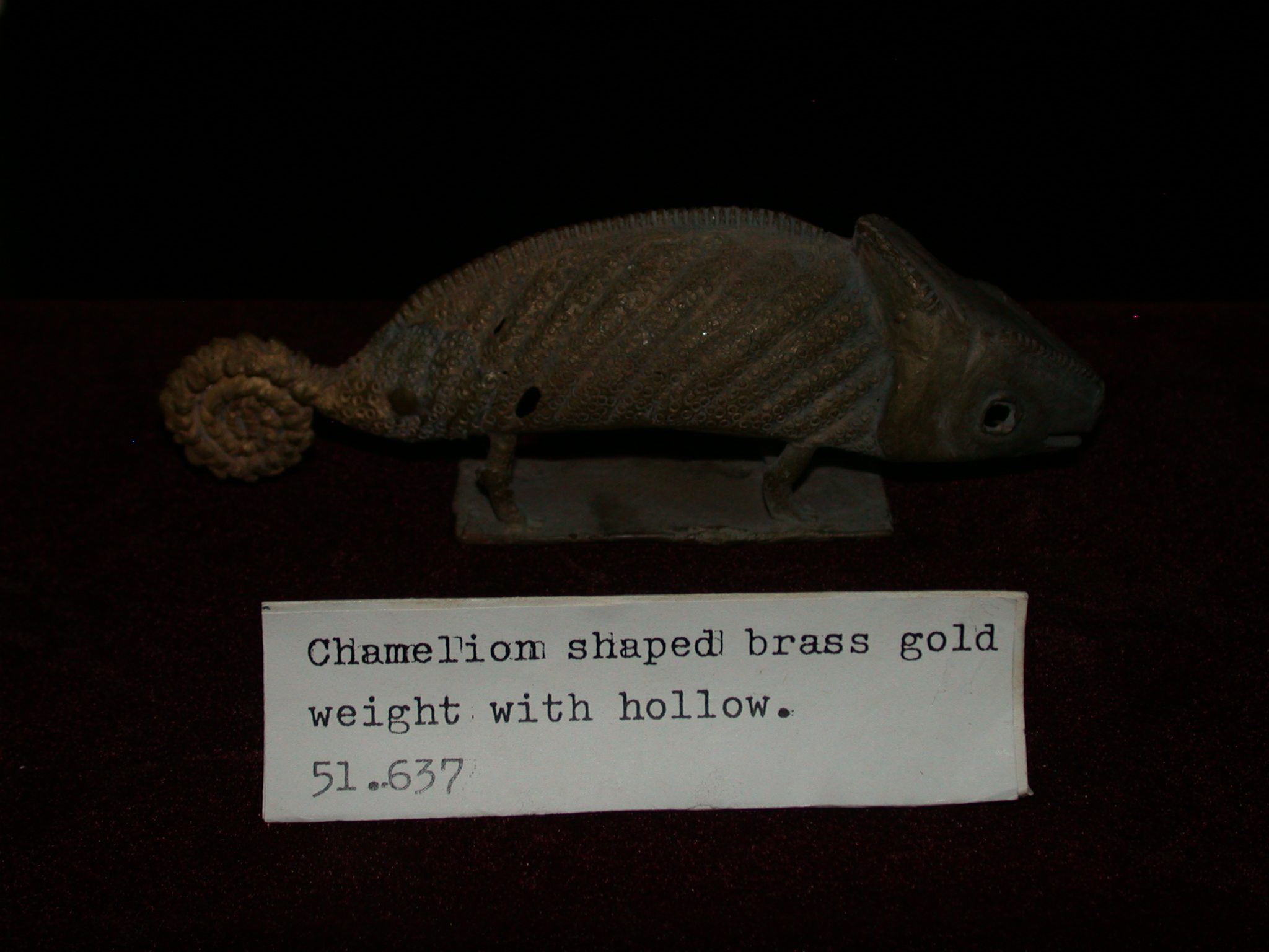 Brass Ashanti Asante Gold Weights in Chameleon Shape, National Museum, Accra, Ghana