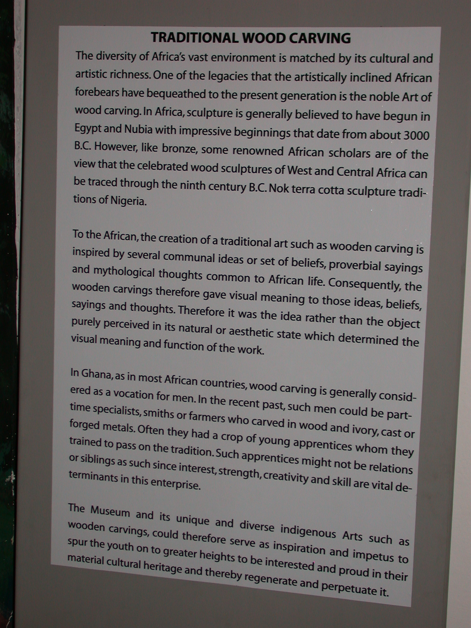 Description of Traditional Wood Carving, National Museum, Accra, Ghana