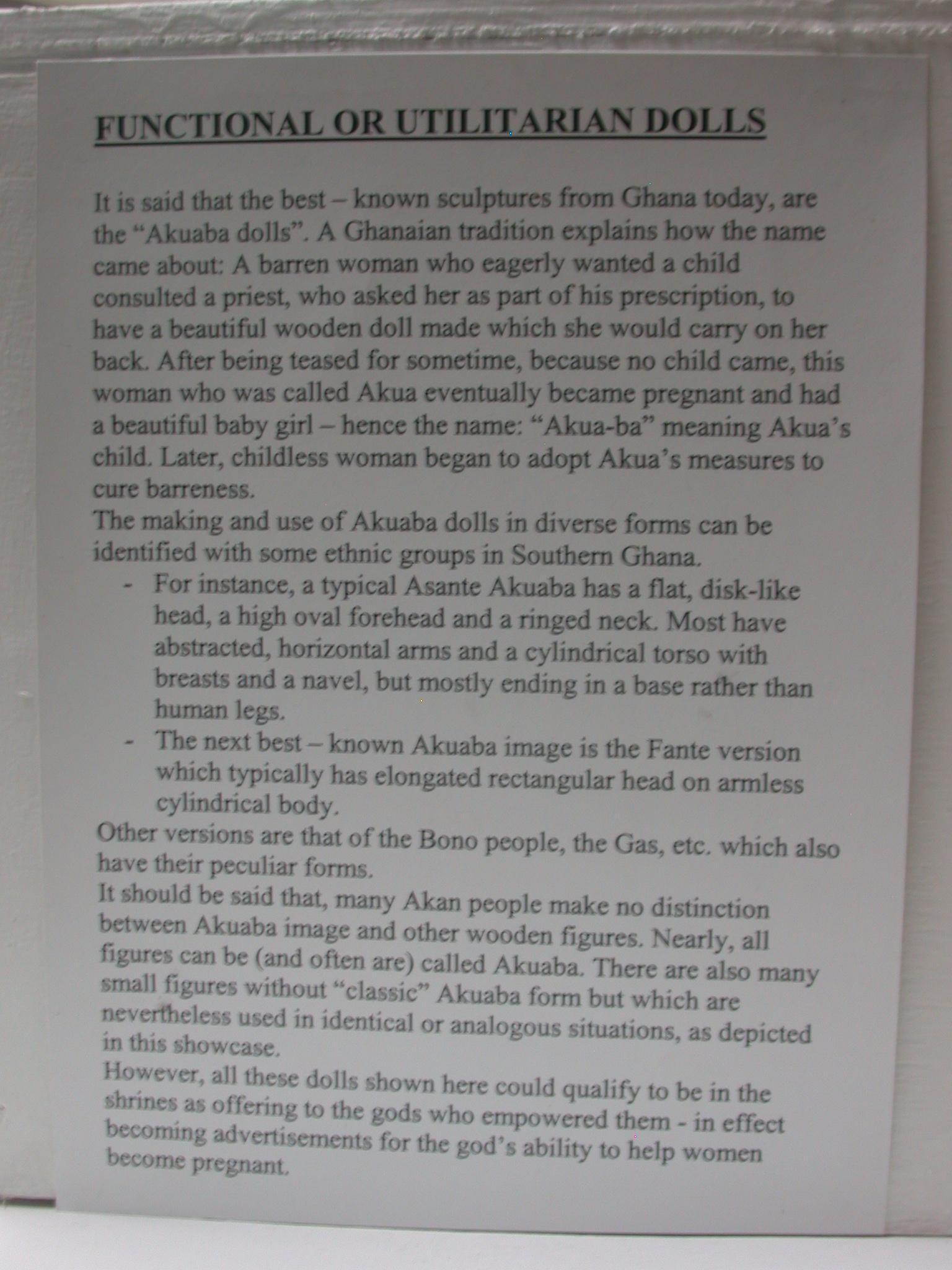 Description of Functional or Utilitarian Dolls, Akuaba or Akweba Dolls, National Museum, Accra, Ghana