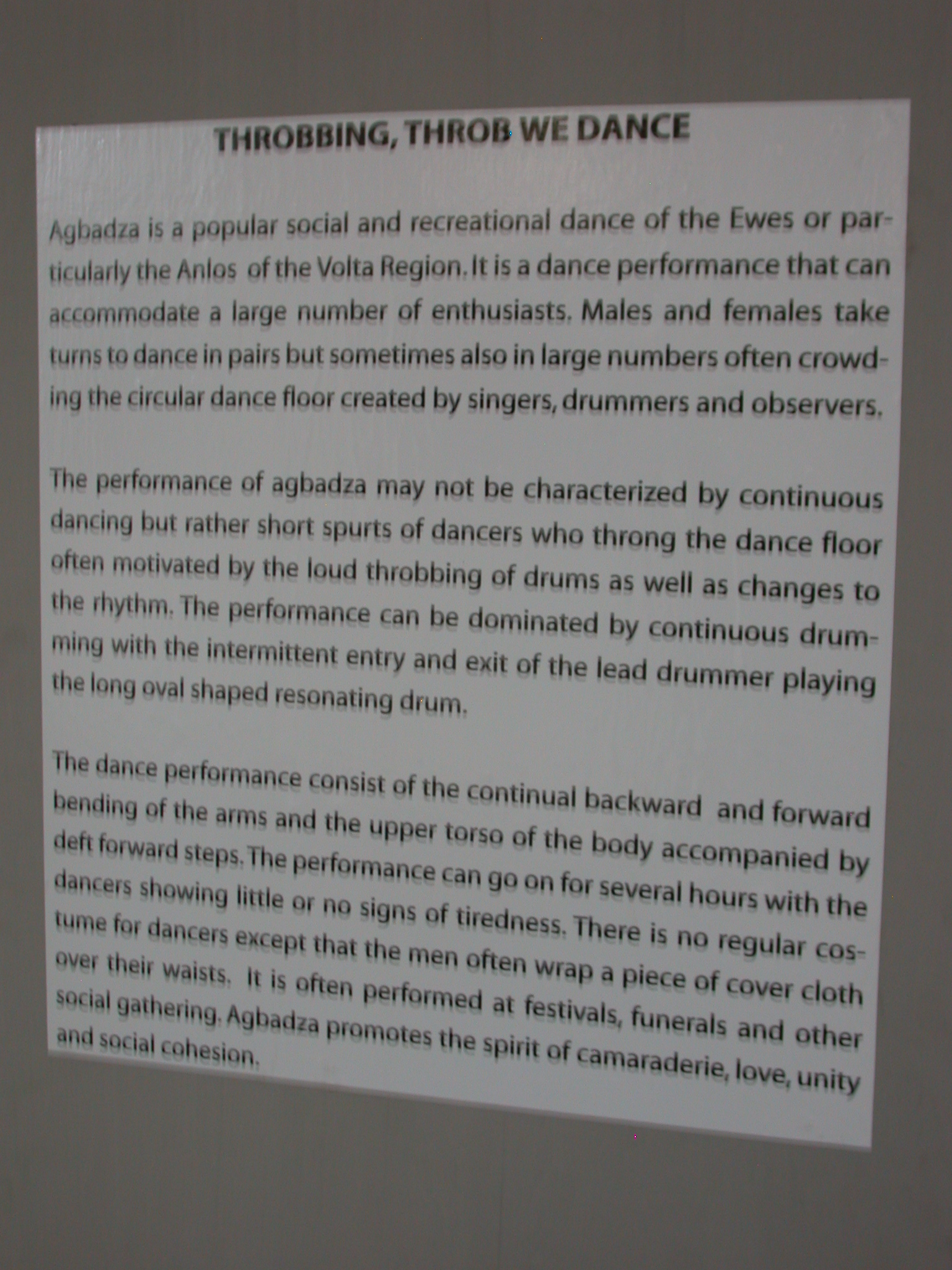 Description of Agbadza Dance, National Museum, Accra, Ghana