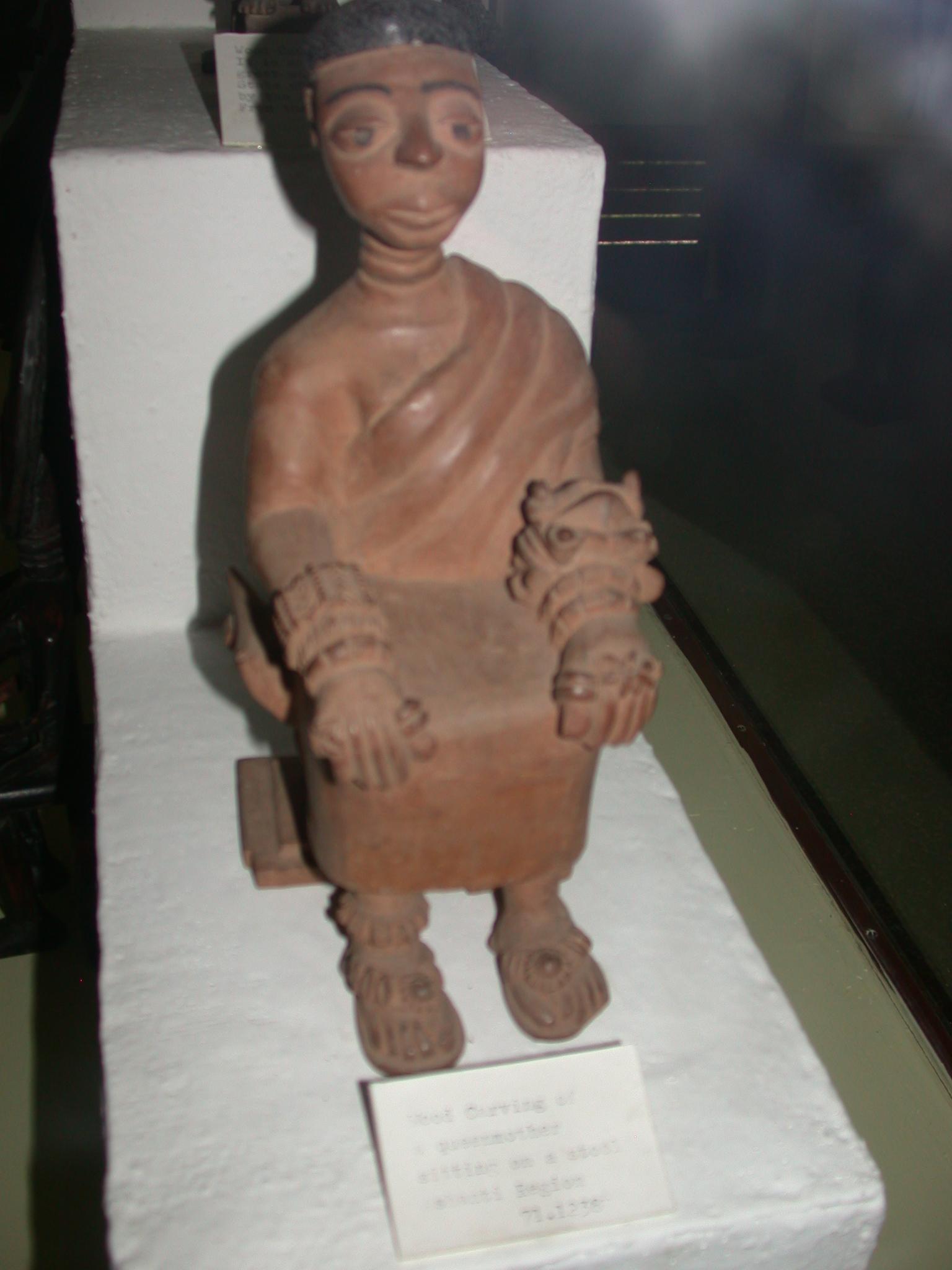 Wood Carving of Grandmother on Stool, Ashanti Asante Region, National Museum, Accra, Ghana