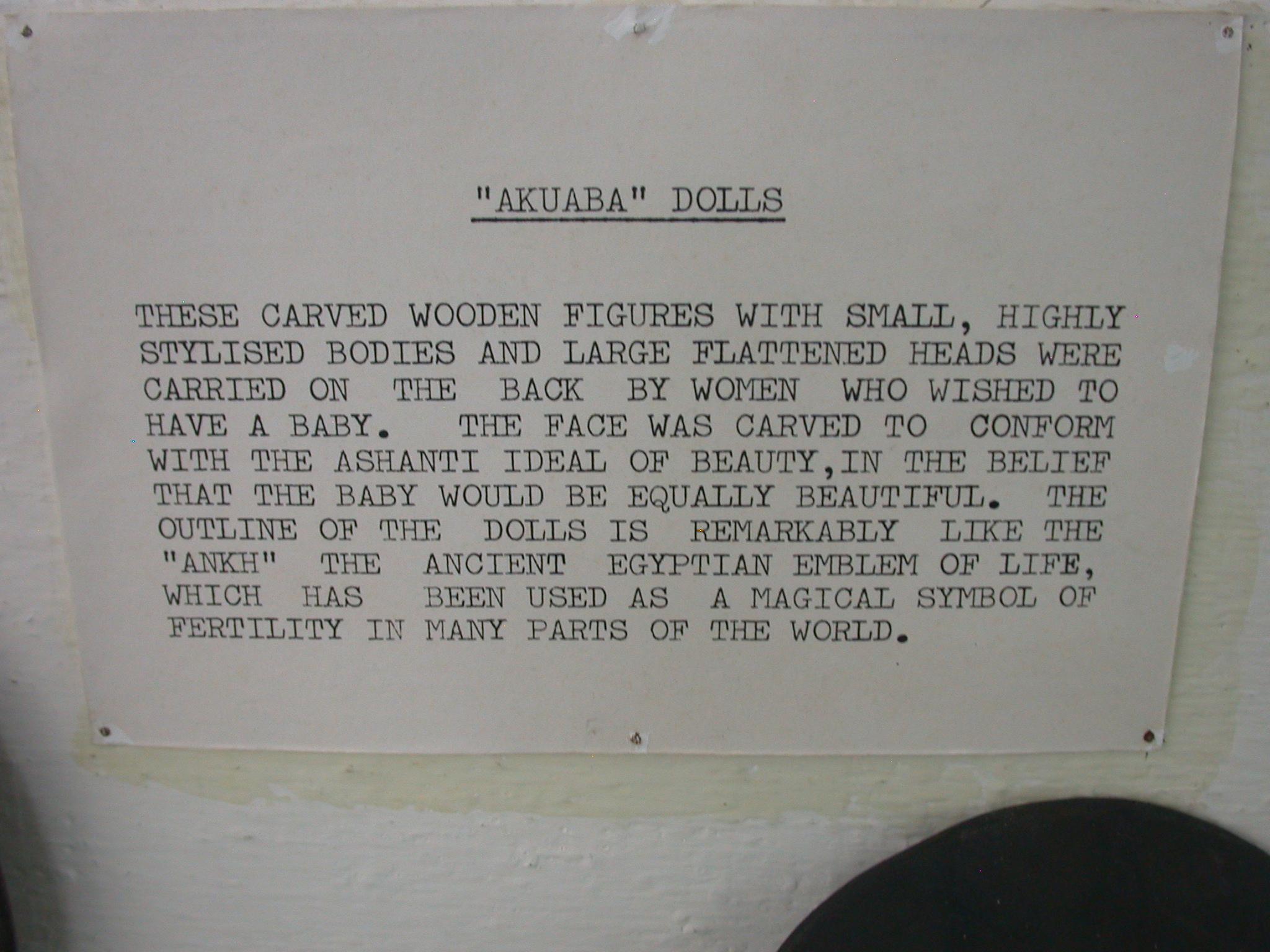 Description of Akuaba or Akweba Dolls, National Museum, Accra, Ghana