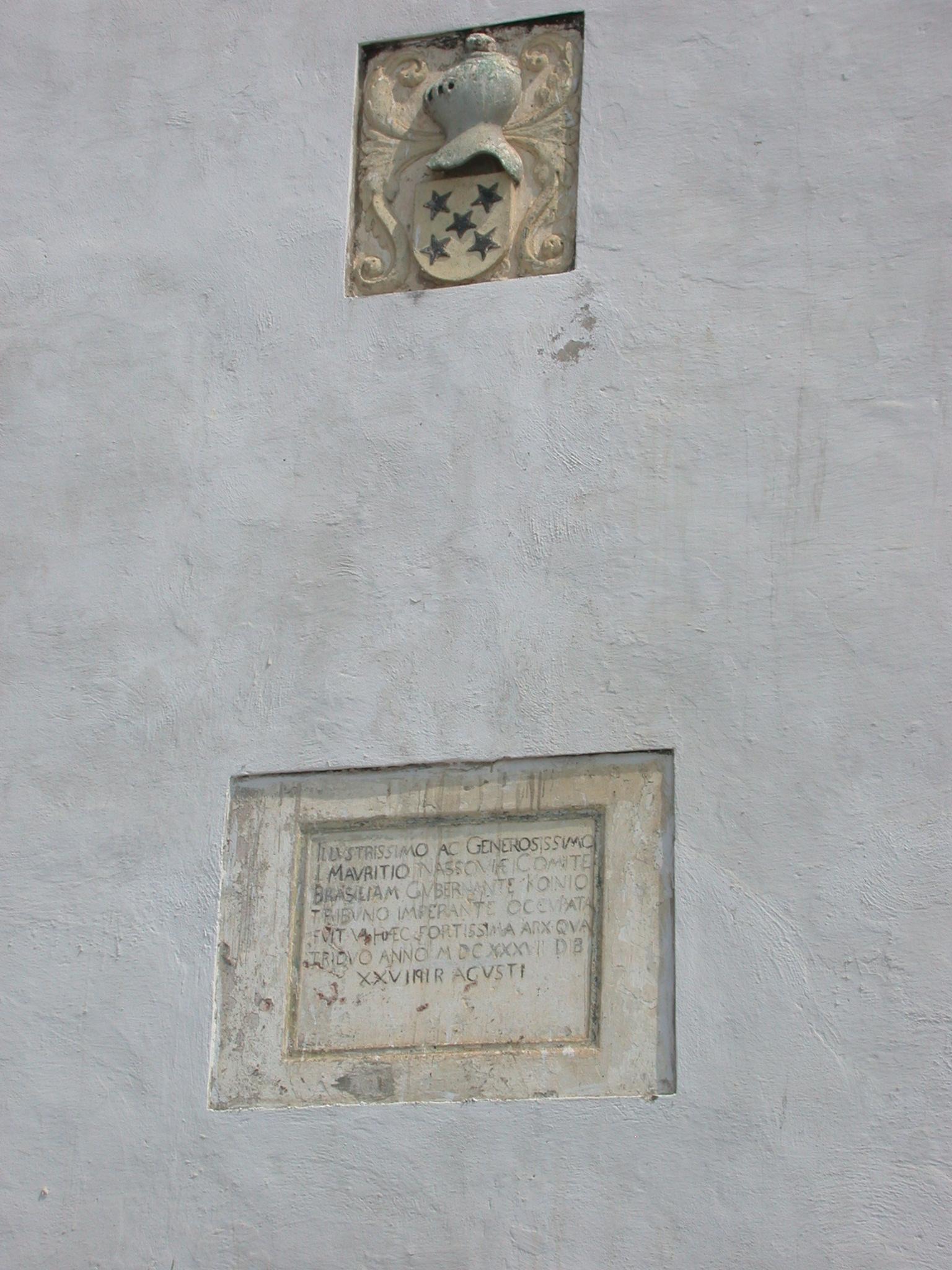 Crest and Dedication on Exterior Wall of Elmina Slave Fort, Elmina, Ghana