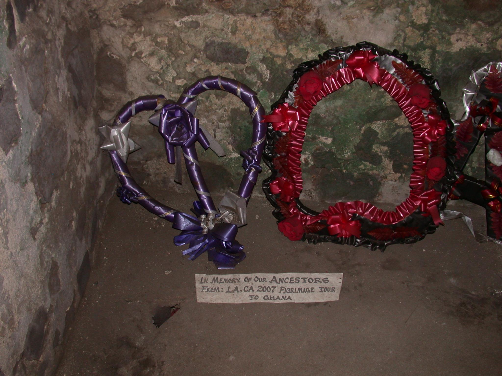 Wreaths Laid in Memory of Slaves, Passage From Slave Cells, Elmina Slave Fort, Elmina, Ghana