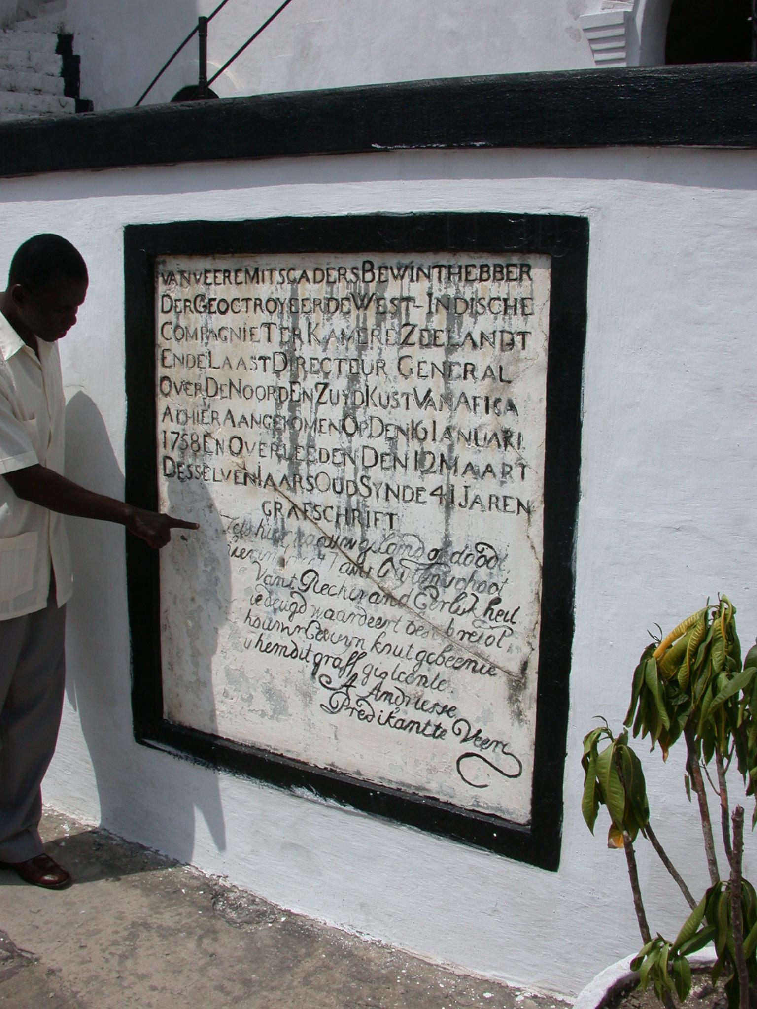 Probably Dutch Grave Marker, Elmina Slave Fort, Elmina, Ghana