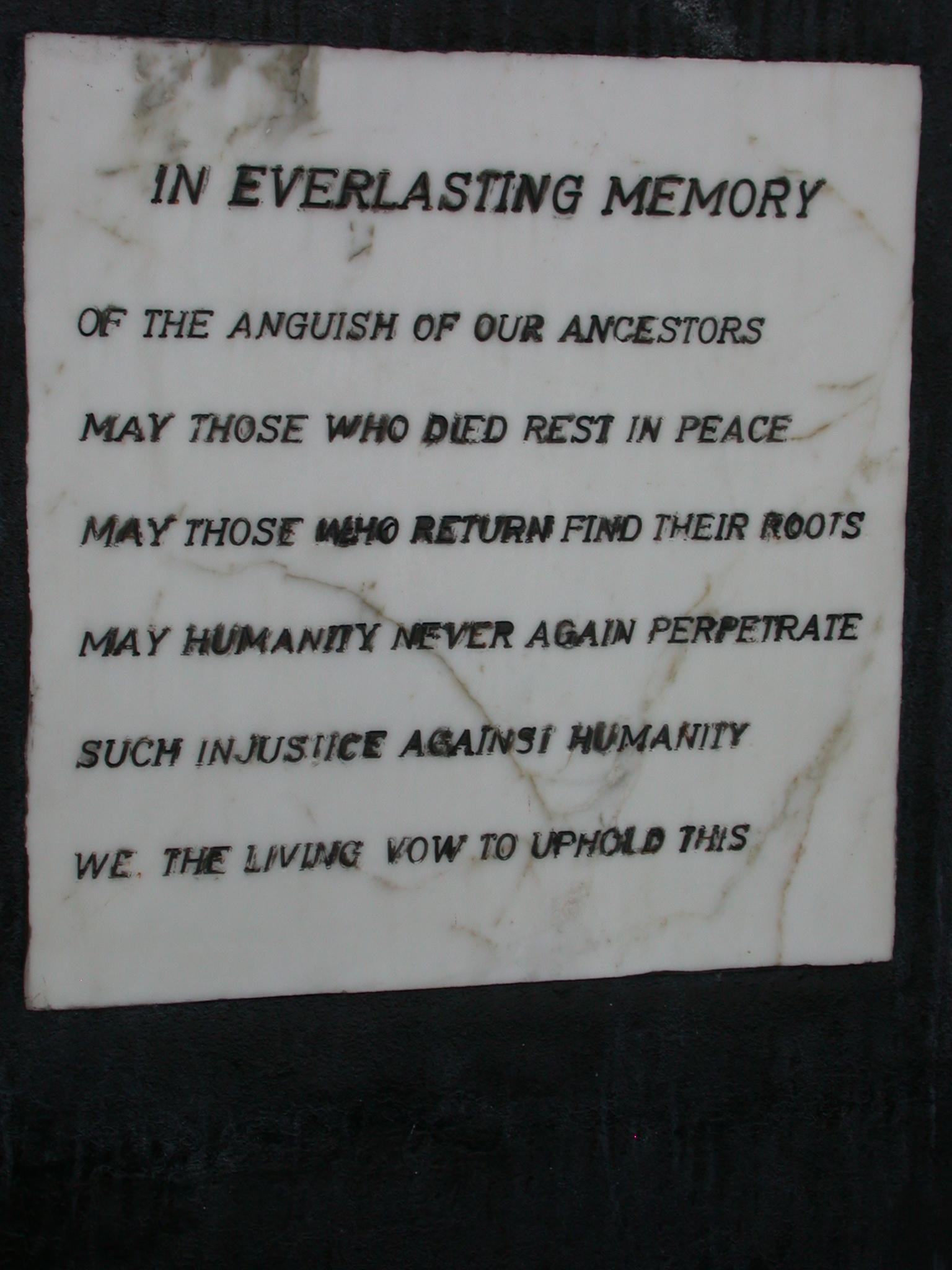 Memory Plaque, Elmina Slave Fort, Elmina, Ghana