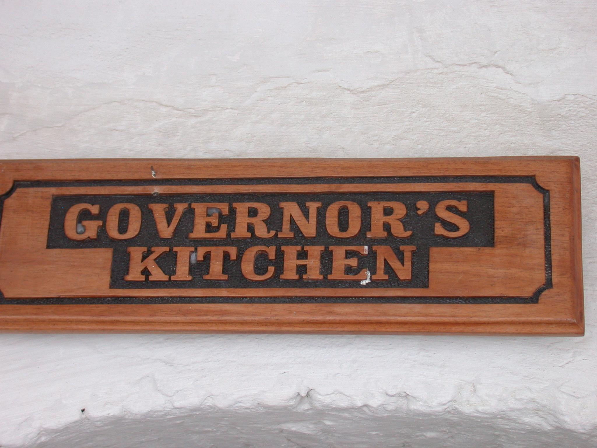 Sign for Governors Kitchen, Elmina Slave Fort, Elmina, Ghana